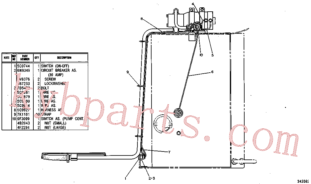 CAT 8S-1815 for 345B Excavator(EXC) fuel system and governor 6C-0853 Assembly