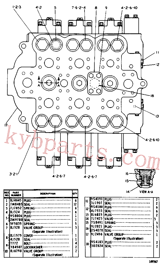 CAT 9J-2021 for 235C Front Shovel(EXC) hydraulic system 8J-3887 Assembly