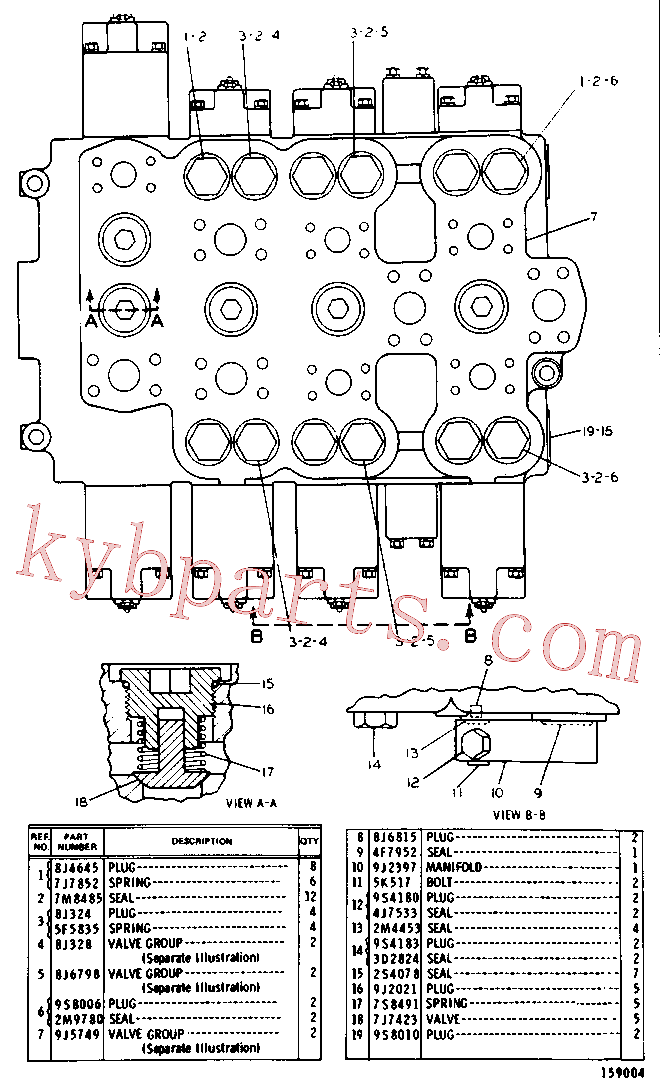 CAT 8J-1590 for 225B Excavator(EXC) hydraulic system 9J-9291 Assembly