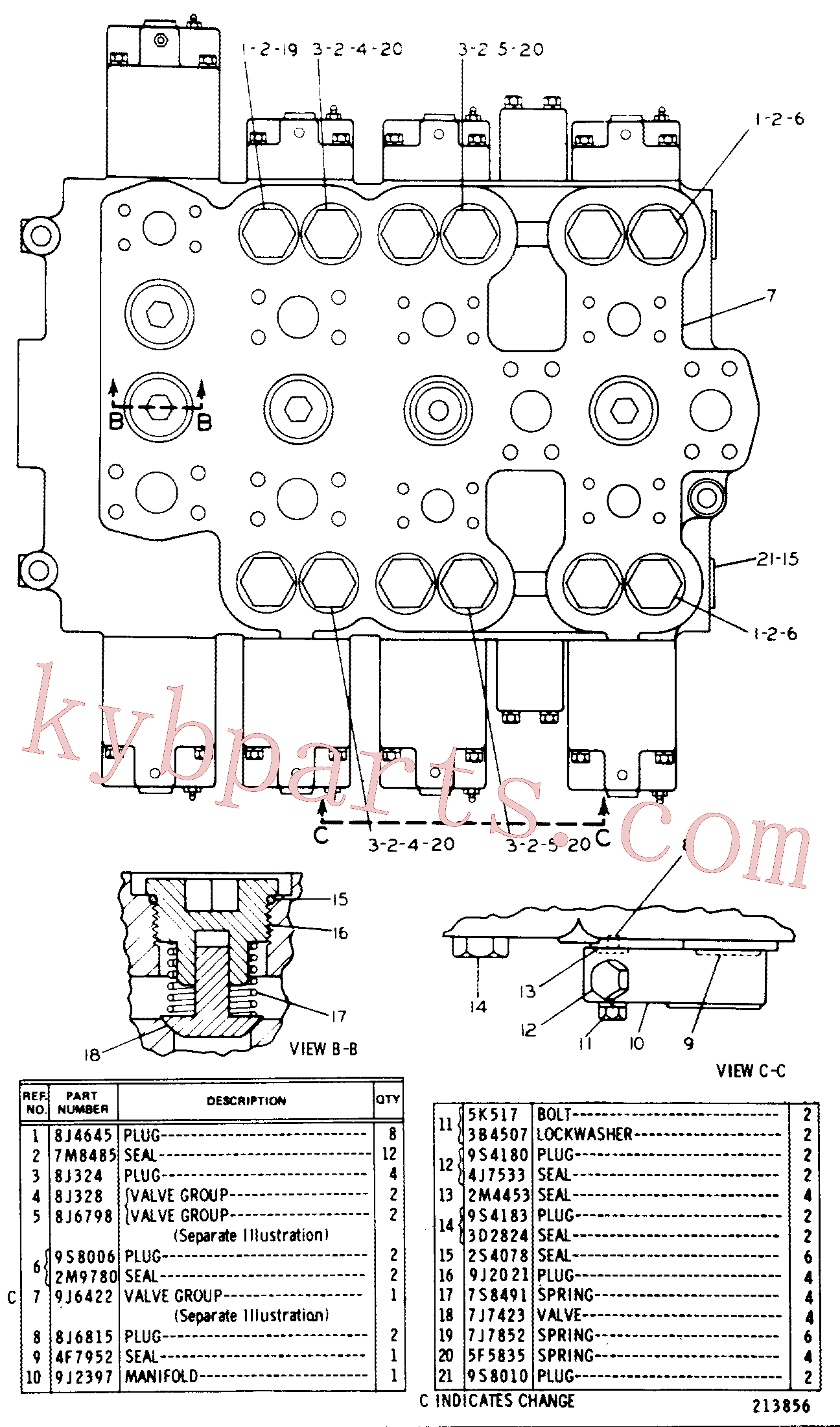 CAT 9J-2021 for 245B Excavator(EXC) hydraulic system 8J-8477 Assembly