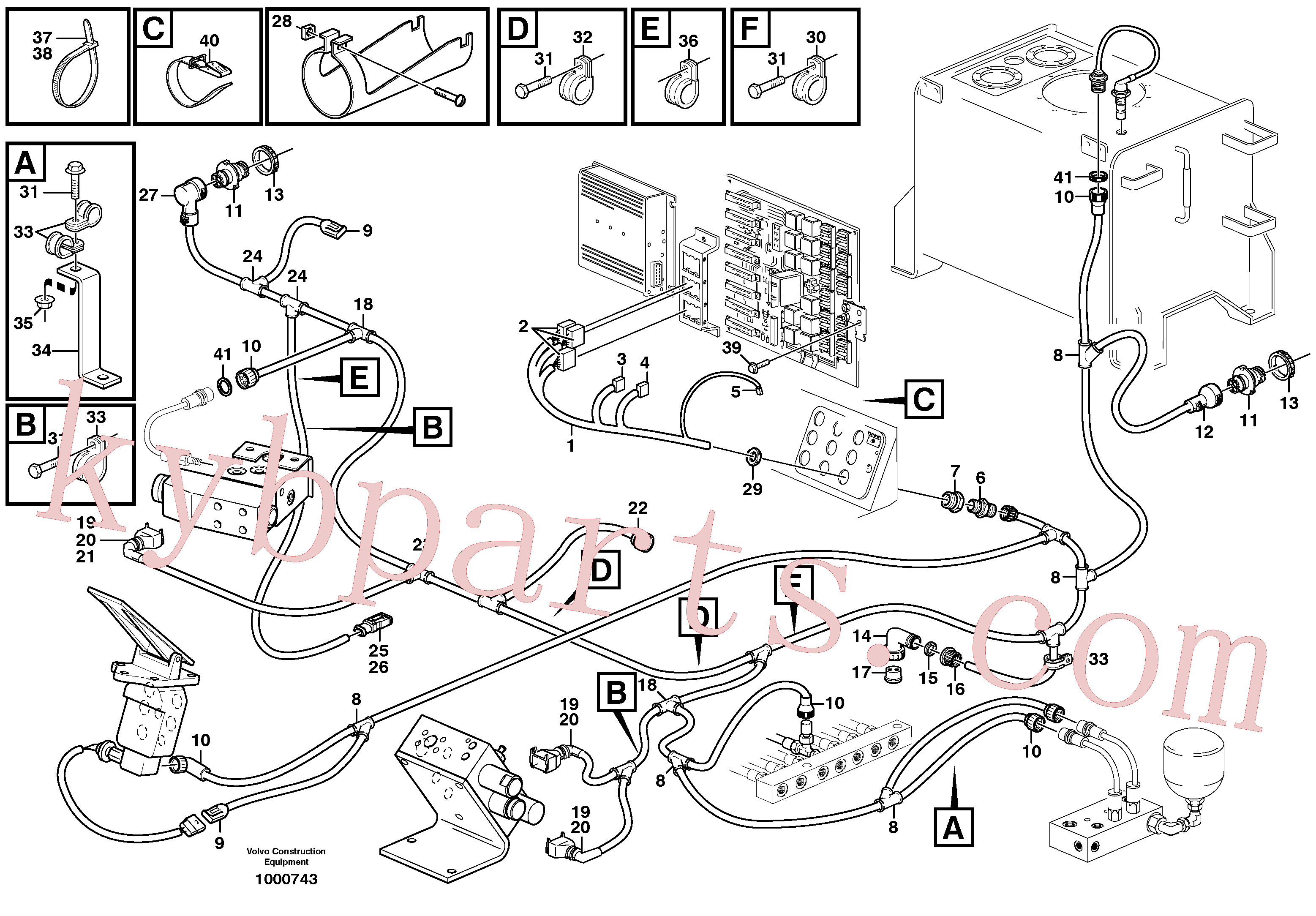 VOE977600 for Volvo Cable harness, under cab(1000743 assembly)