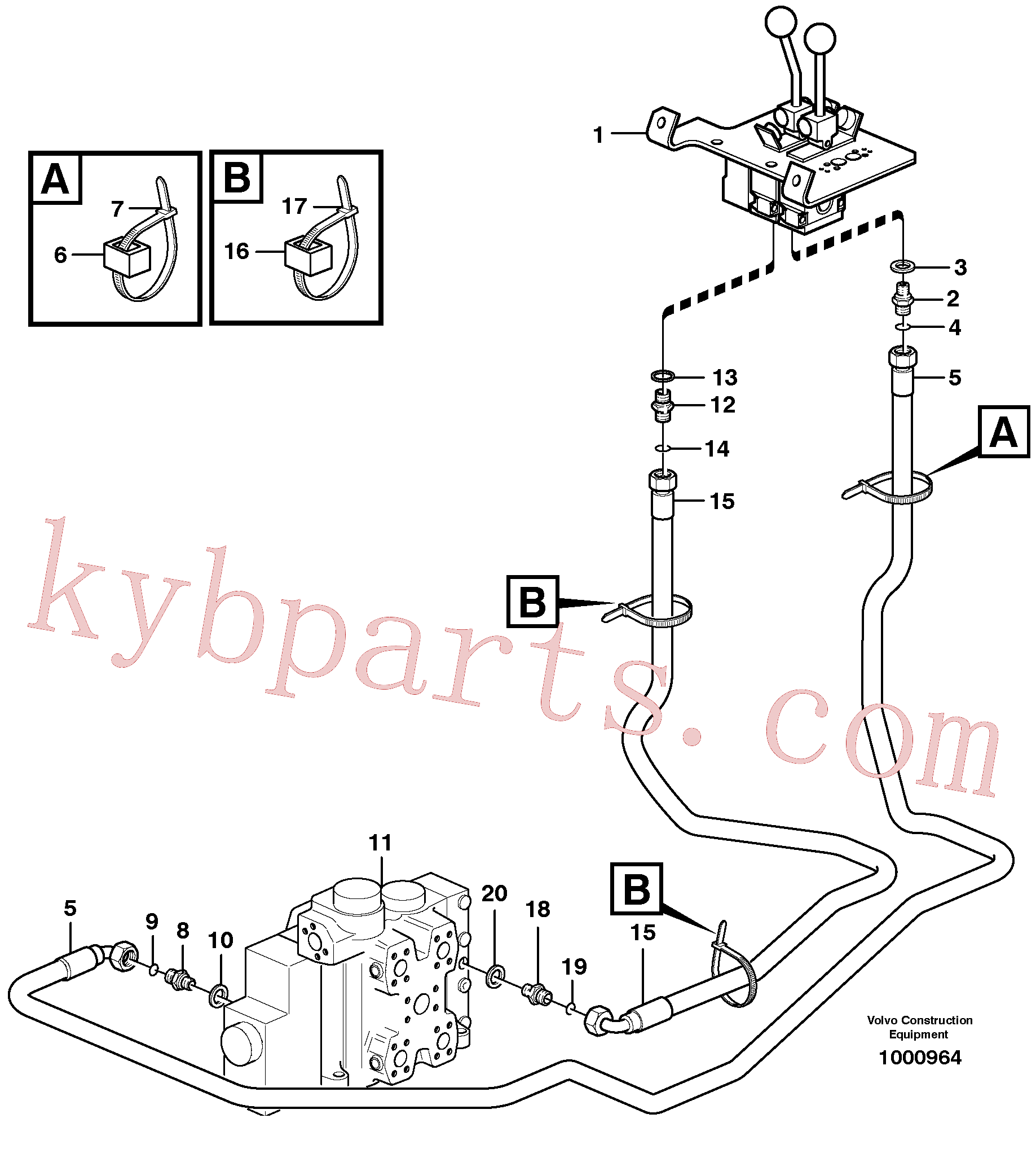 VOE4881455 for Volvo Servo - hydraulic, control lines, lift(1000964 assembly)