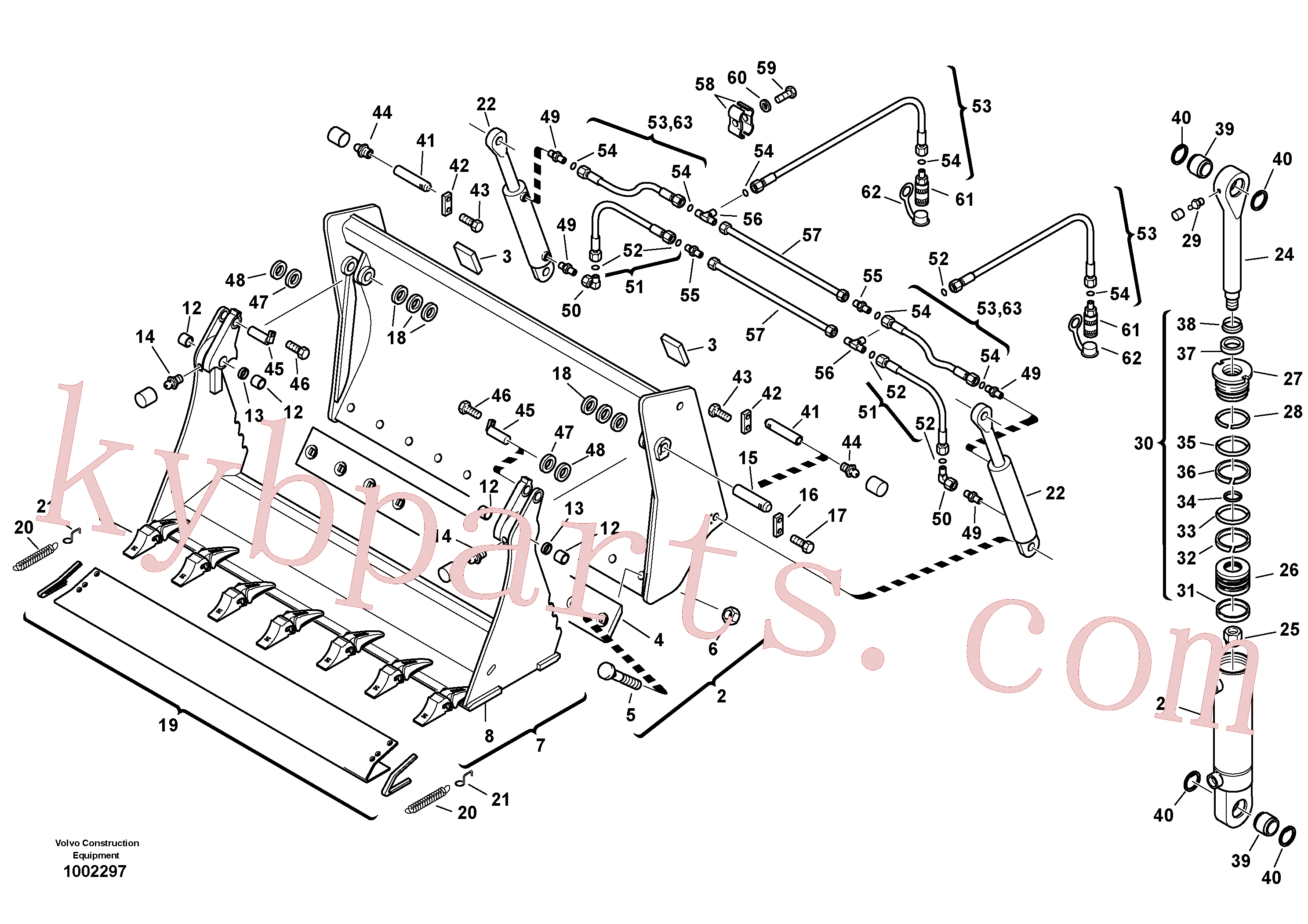 ZM2291203 for Volvo Shutter bucket with teeth(1002297 assembly)