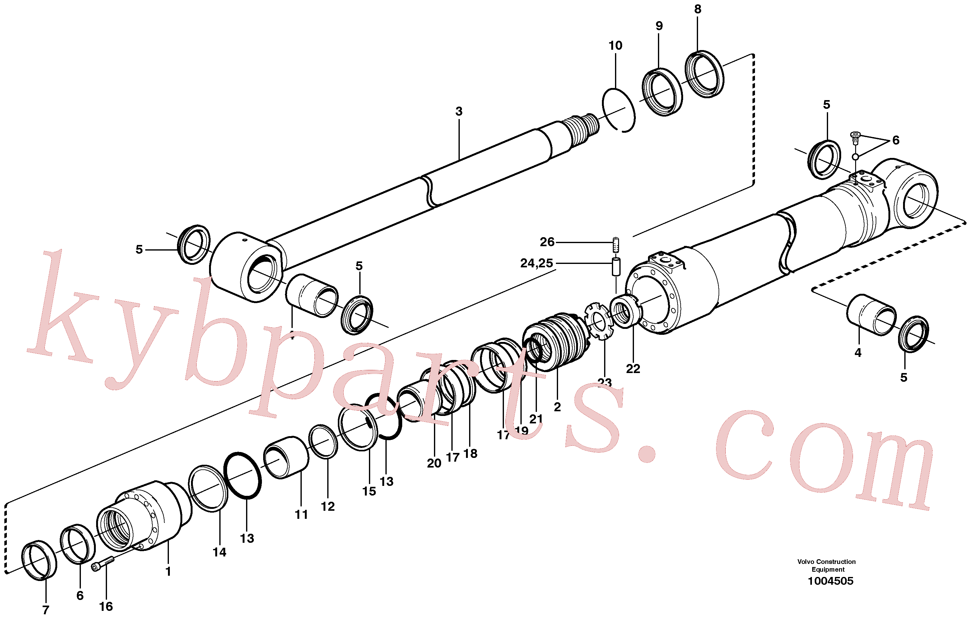 SA9566-31250 for Volvo Dipper arm cylinder(1004505 assembly)