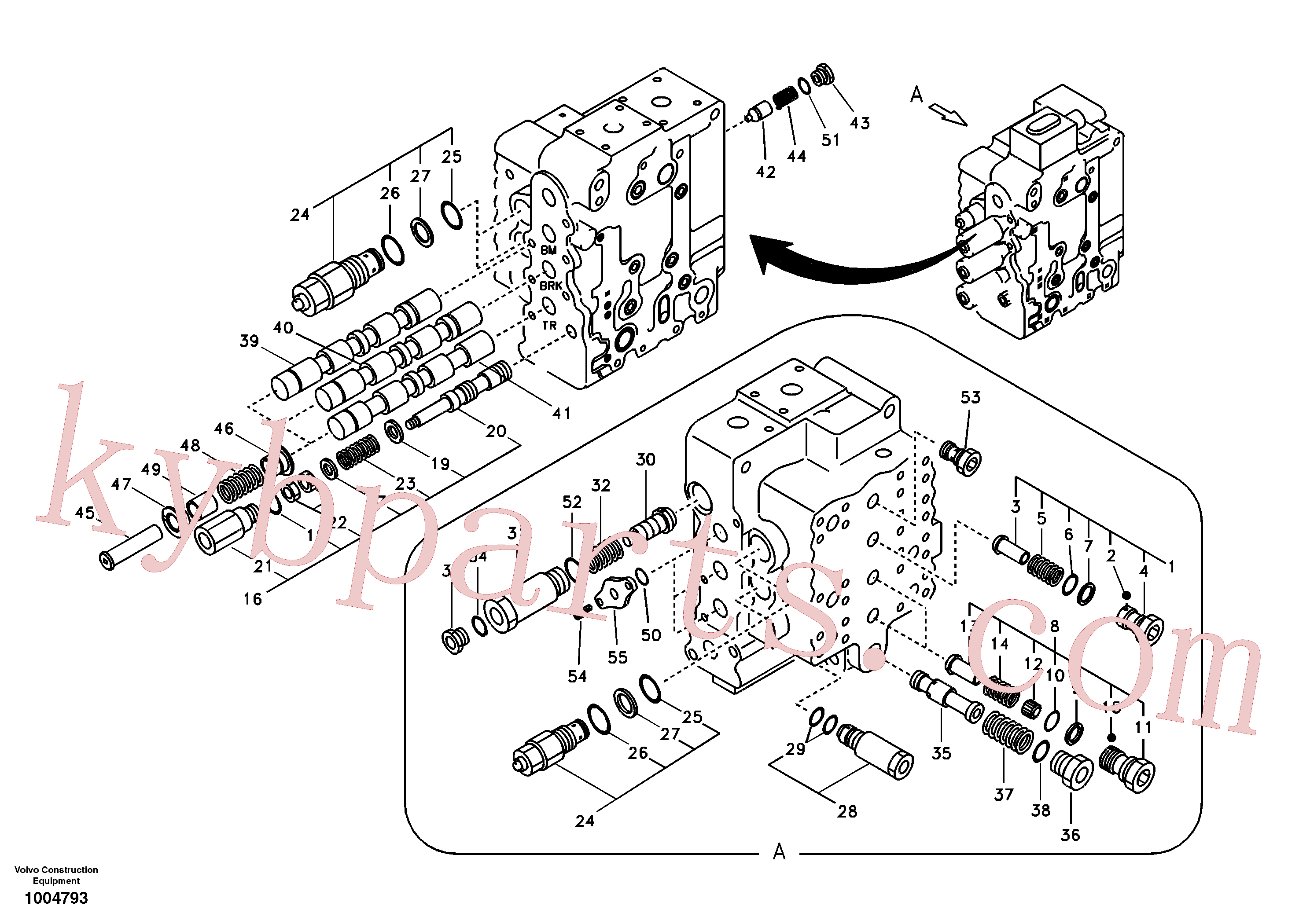 SA7273-10651 for Volvo Main control valve, boom and bucket and travel Rh(1004793 assembly)