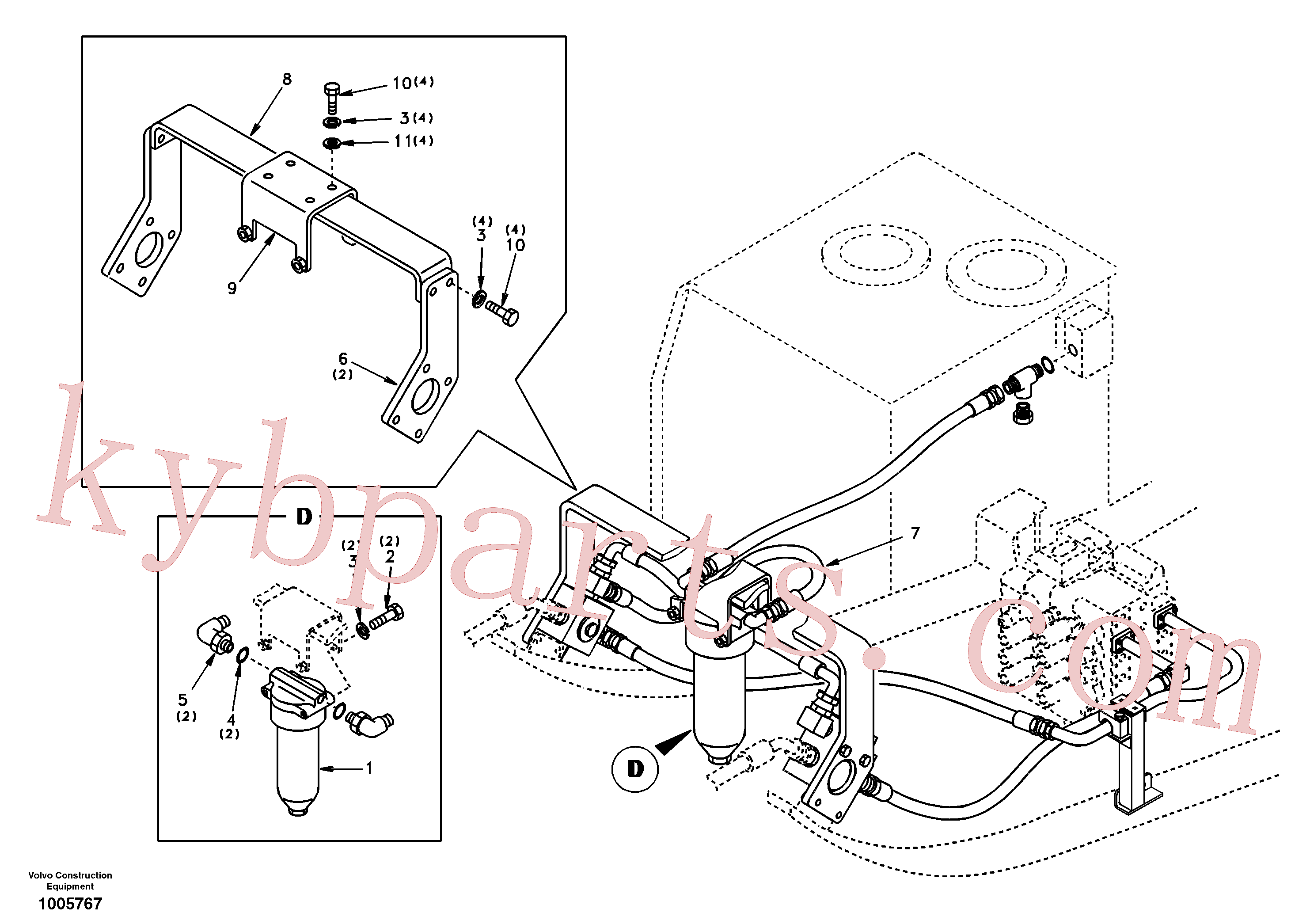 VOE14510909 for Volvo Working hydraulic, hammer and shear for return filter(1005767 assembly)
