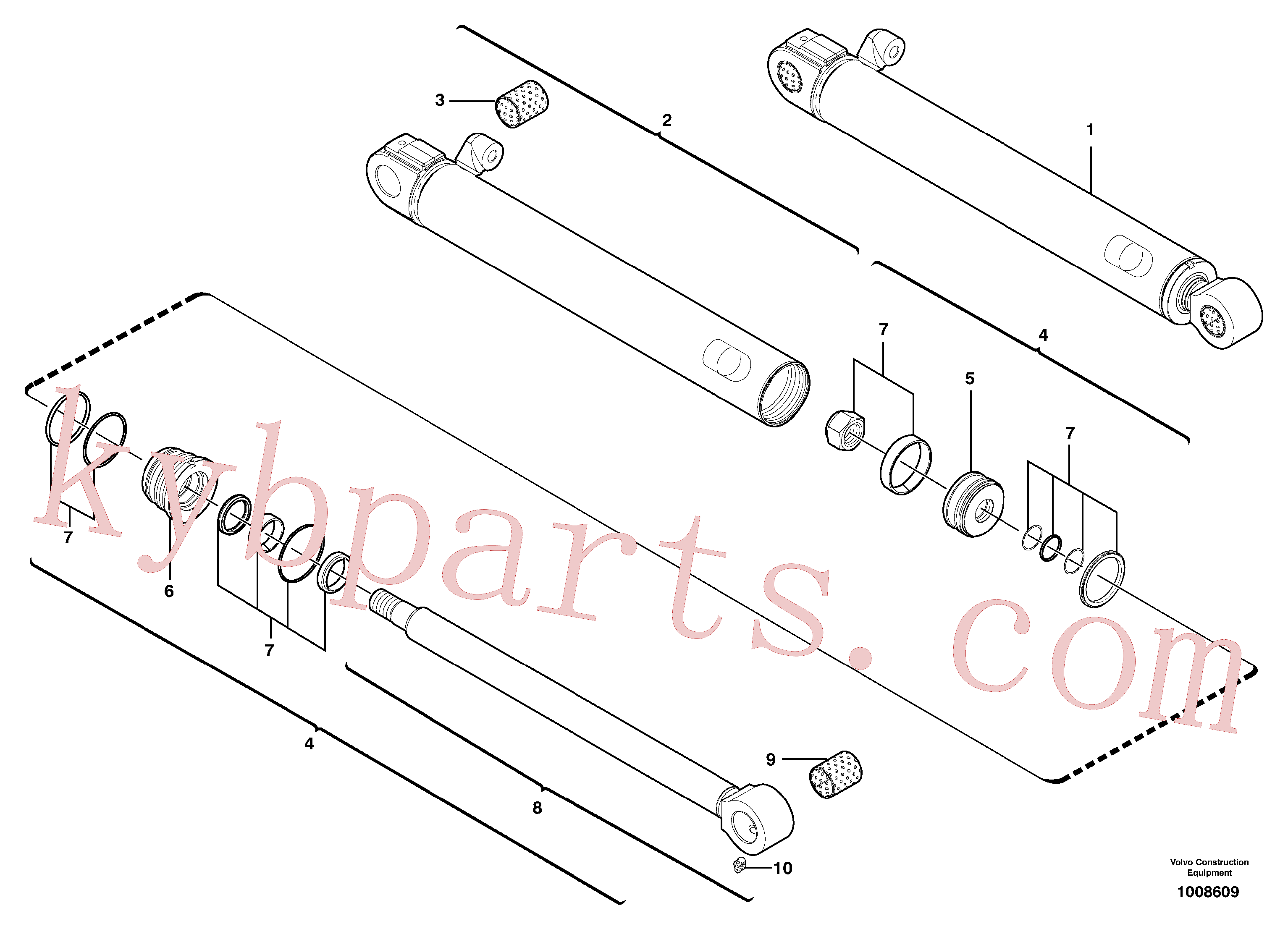 VOE11800600 for Volvo Boom offset cylinder(1008609 assembly)