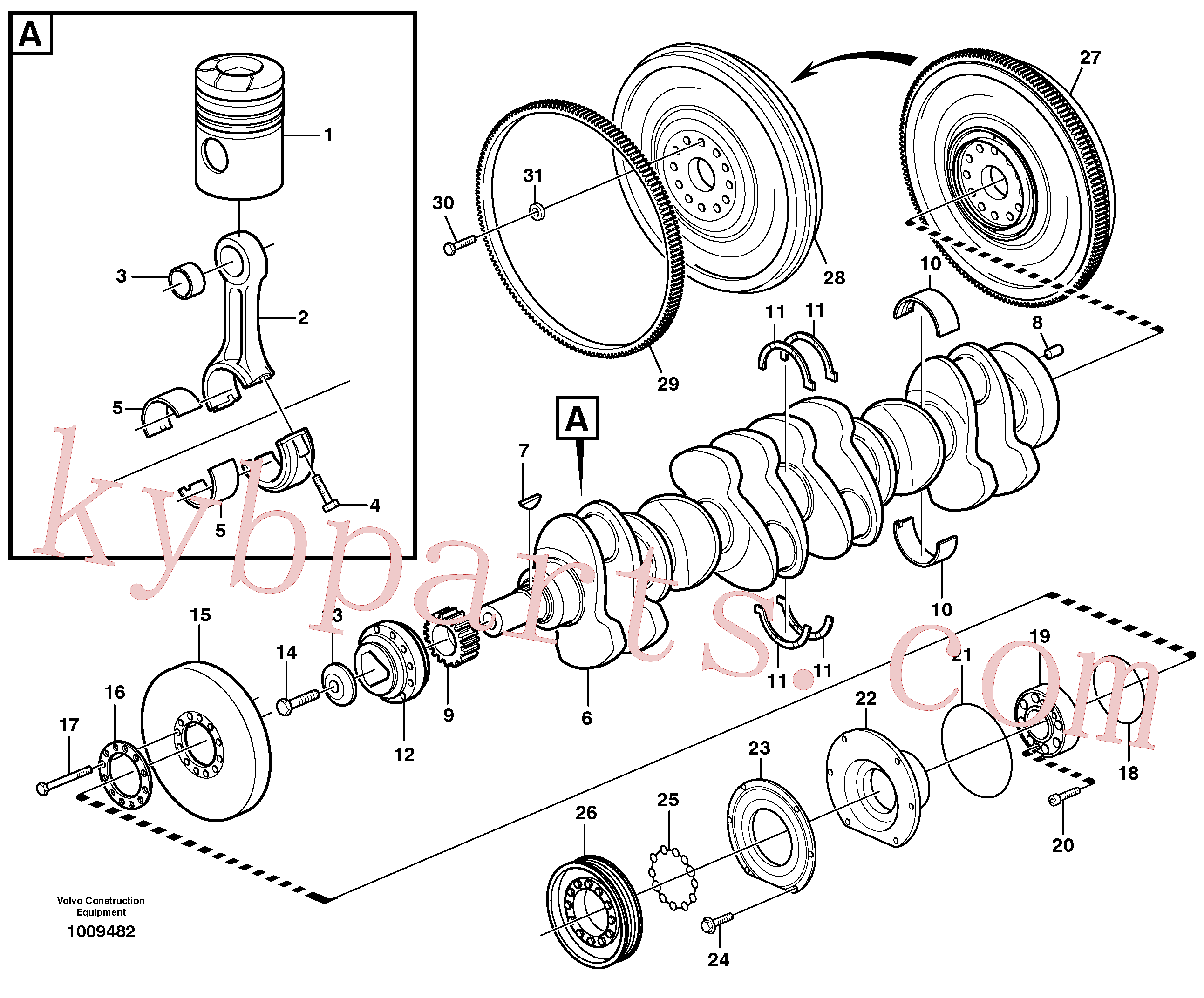 VOE945512 for Volvo Crankshaft and related parts(1009482 assembly)
