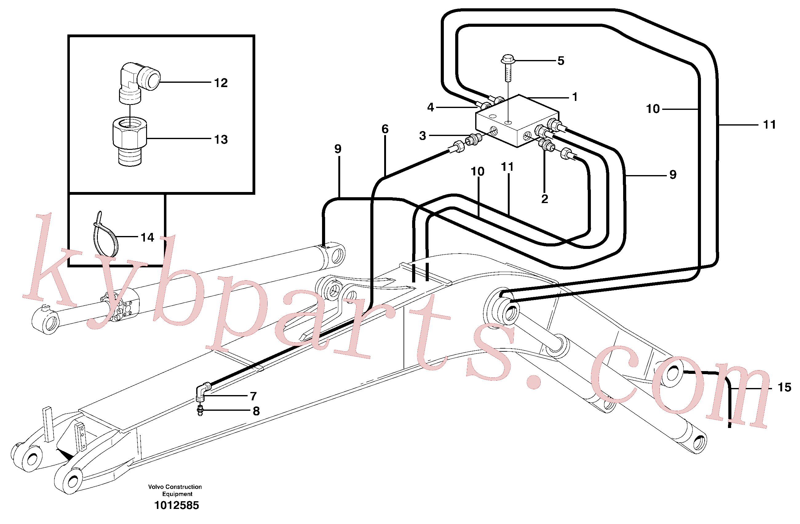VOE14370347 for Volvo Central lubrication, mono boom(1012585 assembly)