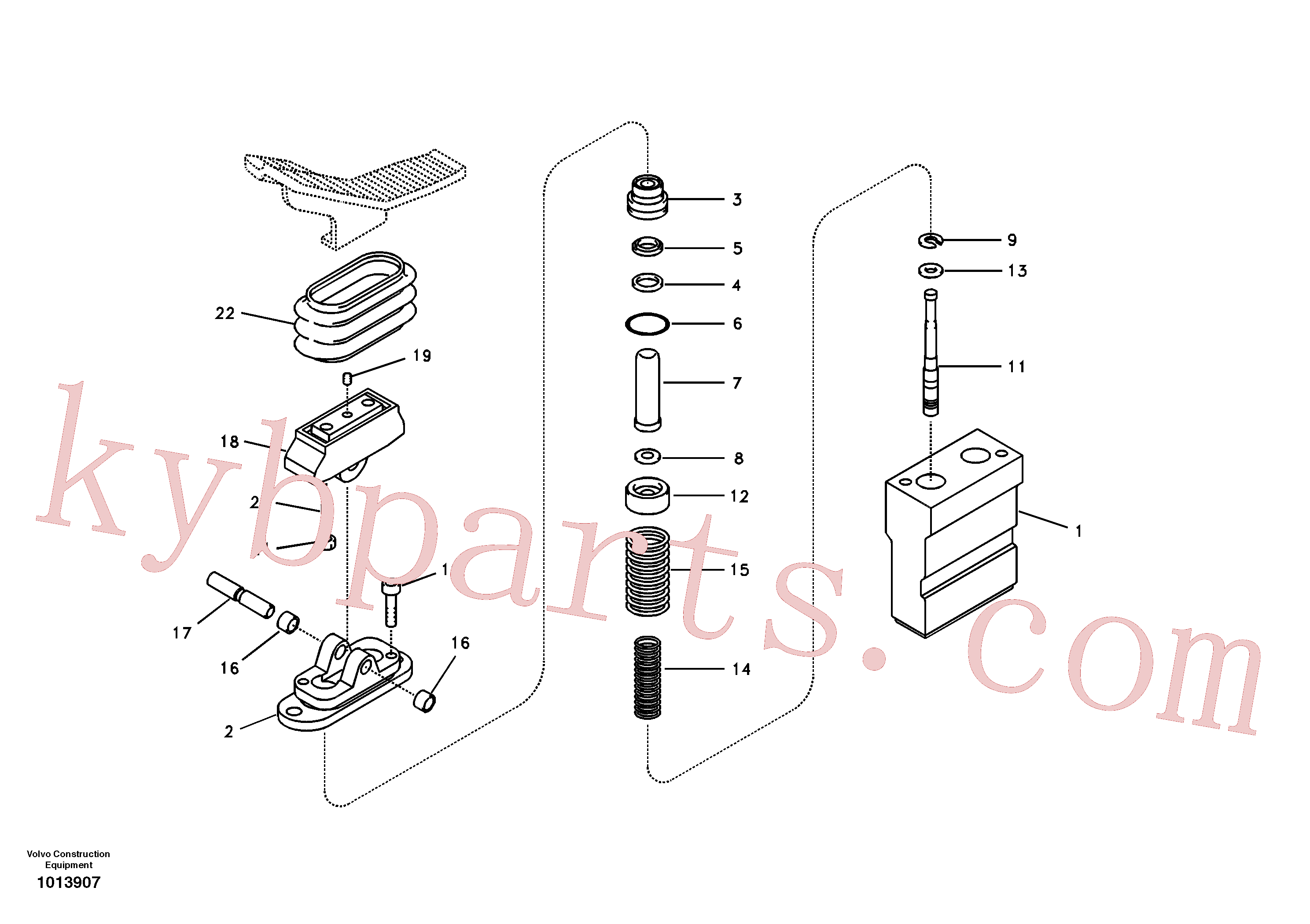 SA8230-19620 for Volvo Working hydraulic, remote control valve pedal for hammer and shear(1013907 assembly)