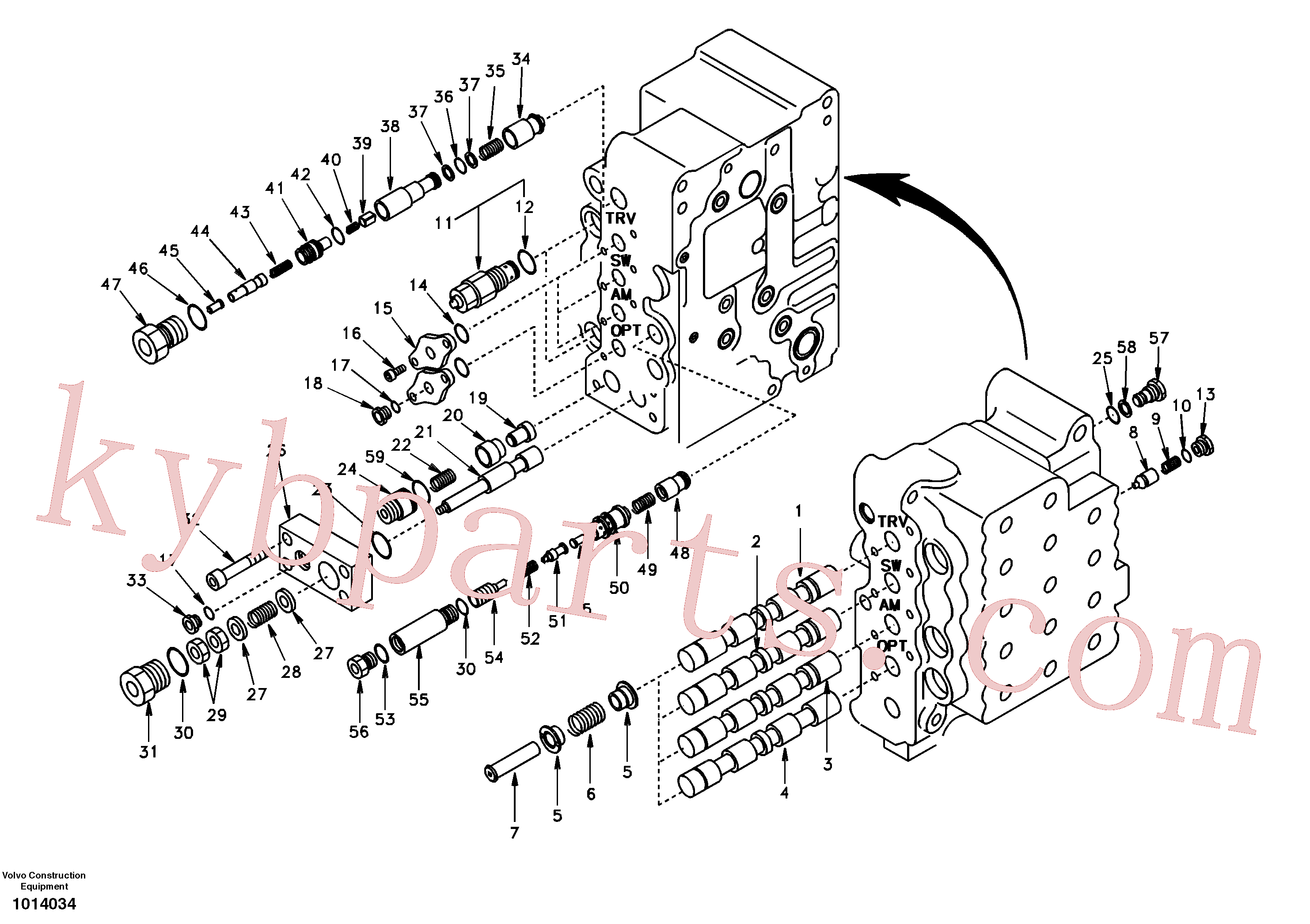 SA8230-11470 for Volvo Main control valve, swing and option and dipper arm and travel Lh(1014034 assembly)