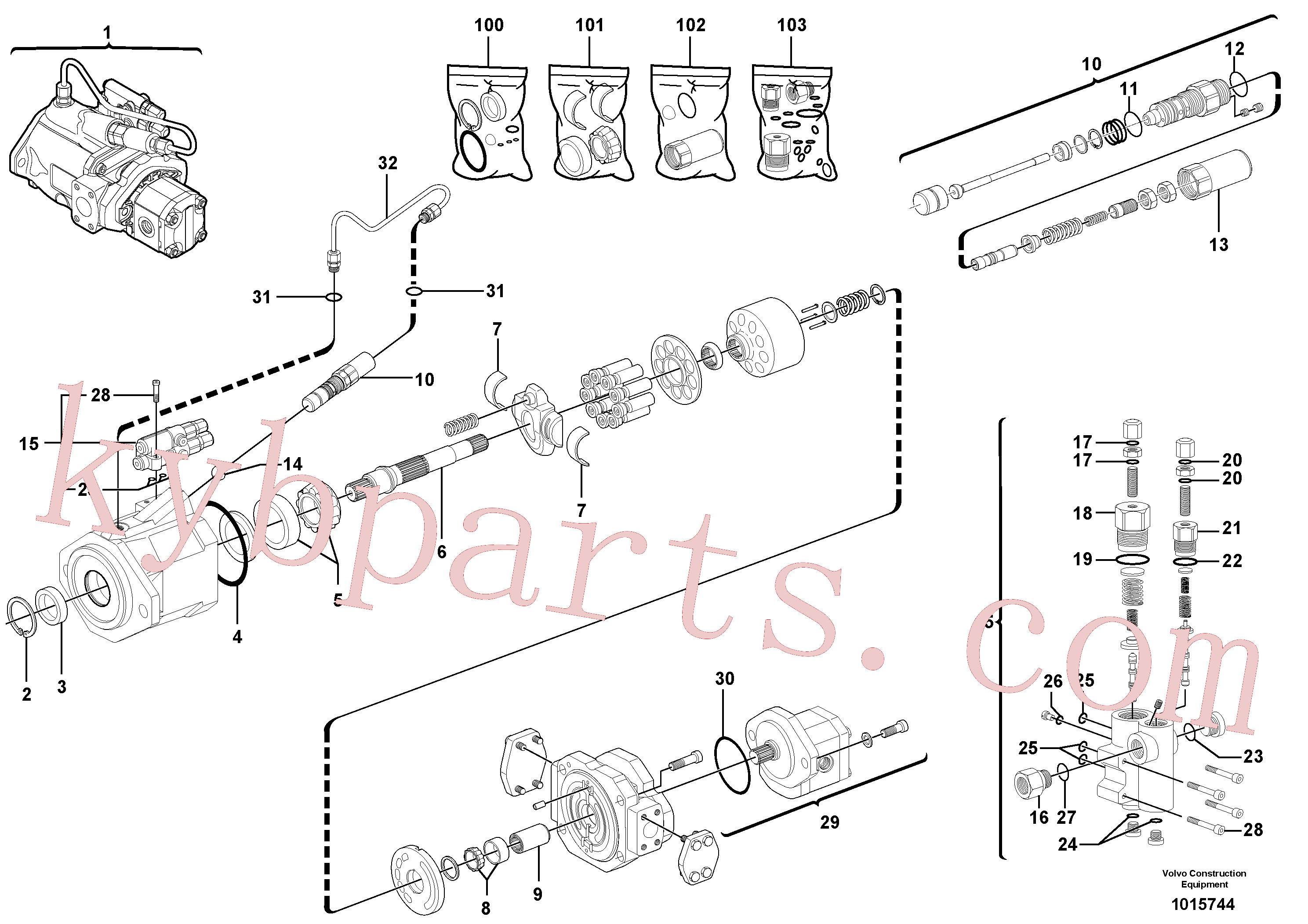 PJ7411728 for Volvo Hydraulic pump(1015744 assembly)