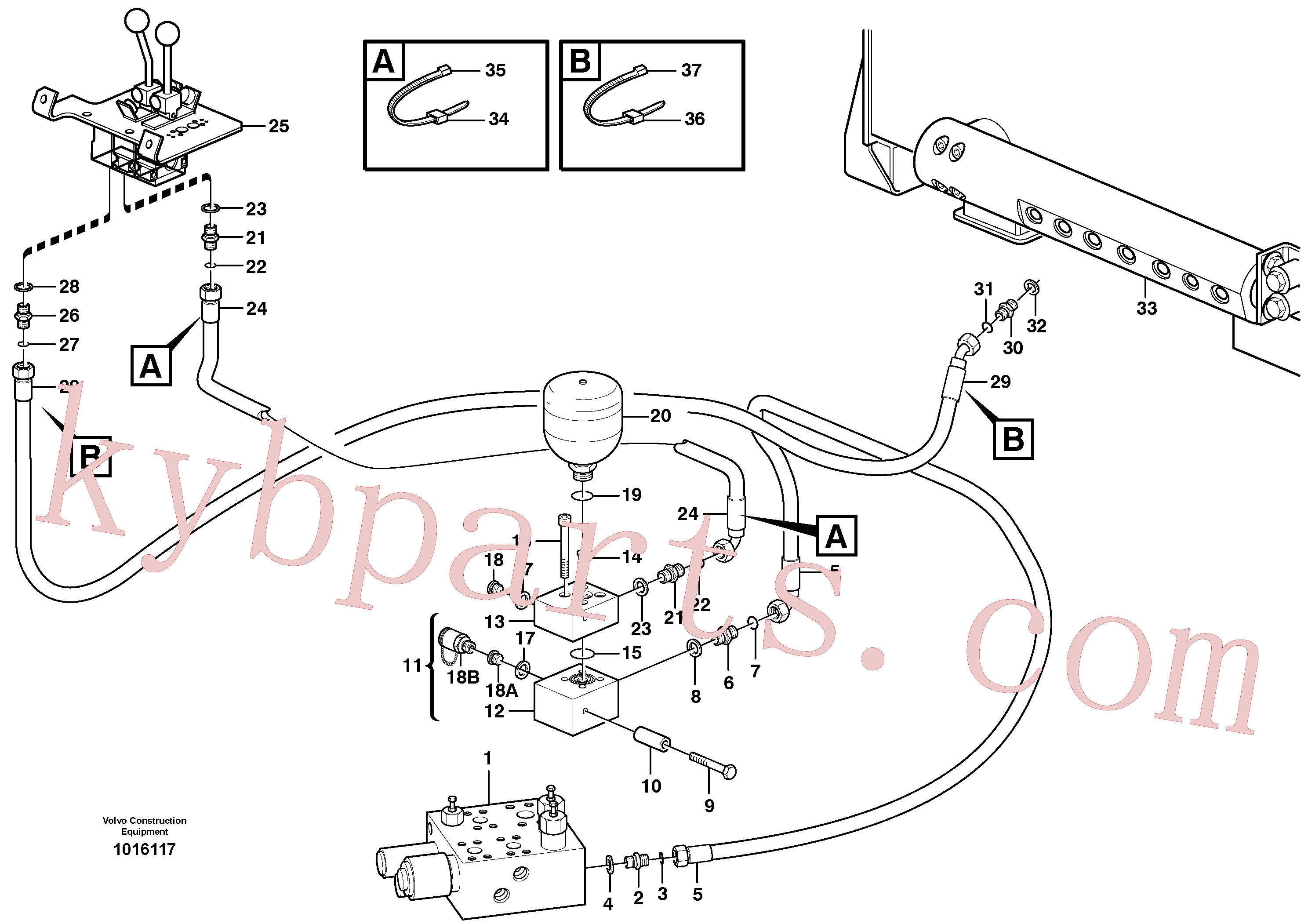 VOE13933985 for Volvo Servo - hydraulic, feed and return lines(1016117 assembly)