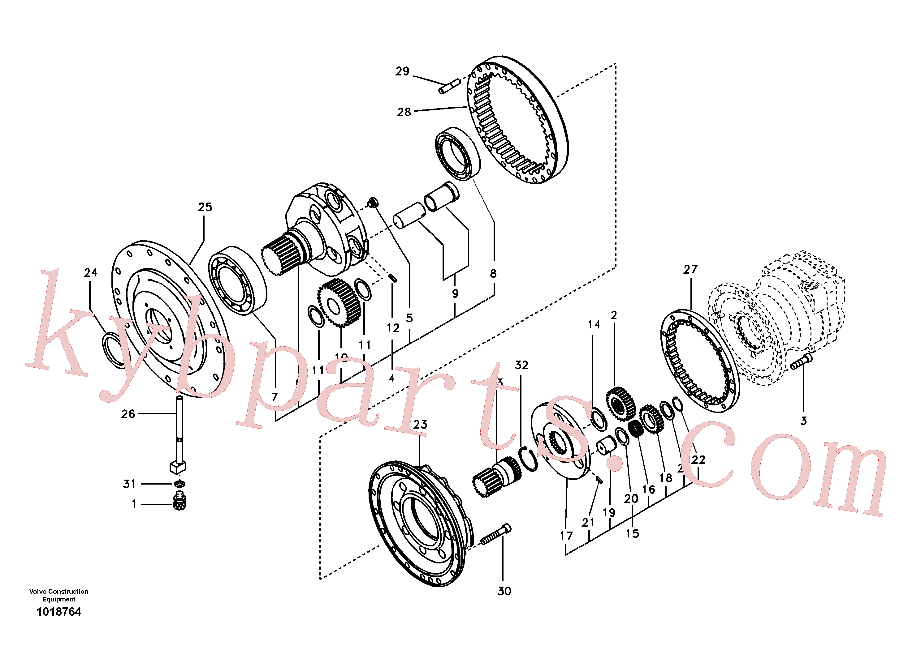 SA7118-38400 for Volvo Swing gearbox(1018764 assembly)