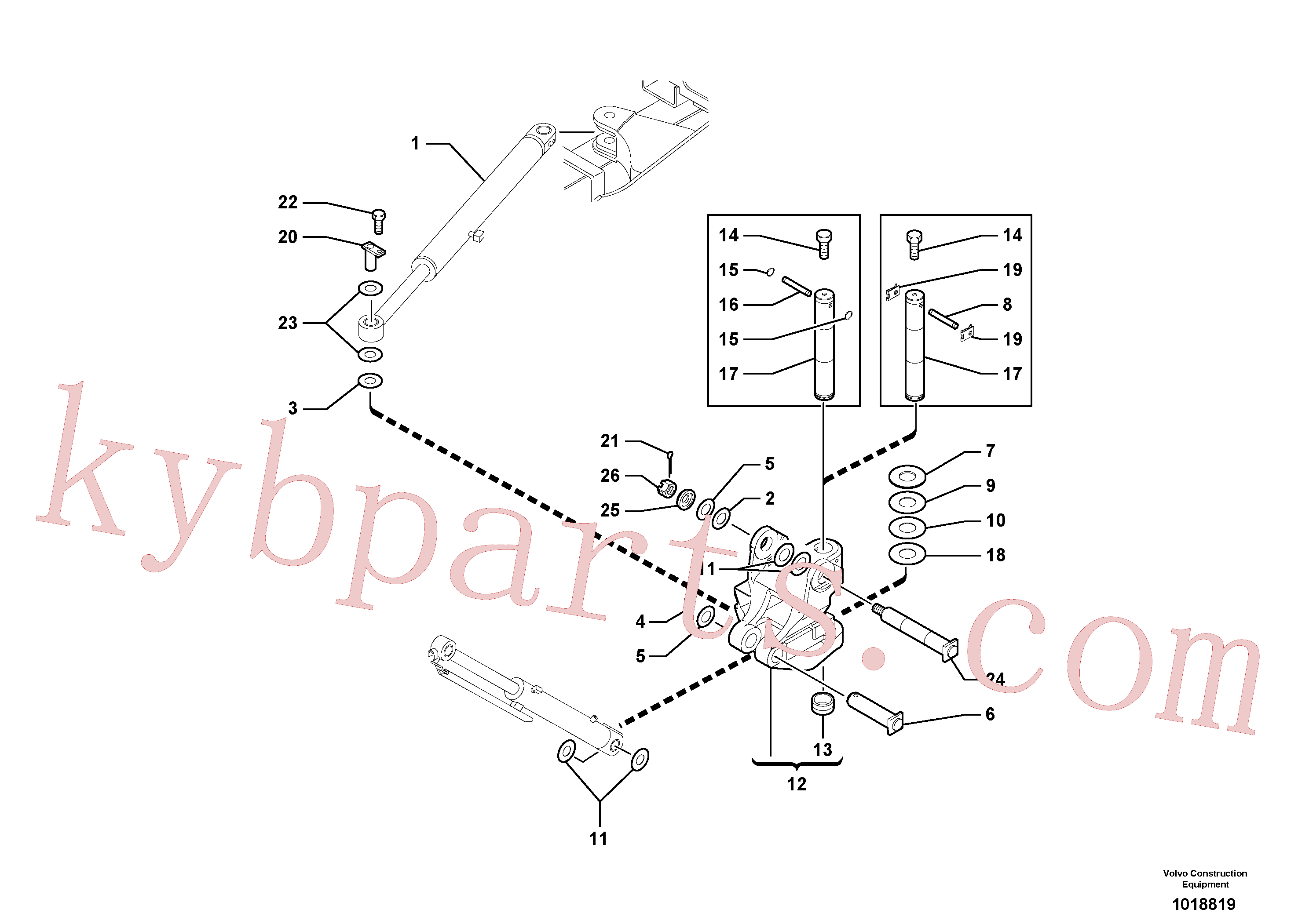 VOE11802089 for Volvo Pivot pin(1018819 assembly)
