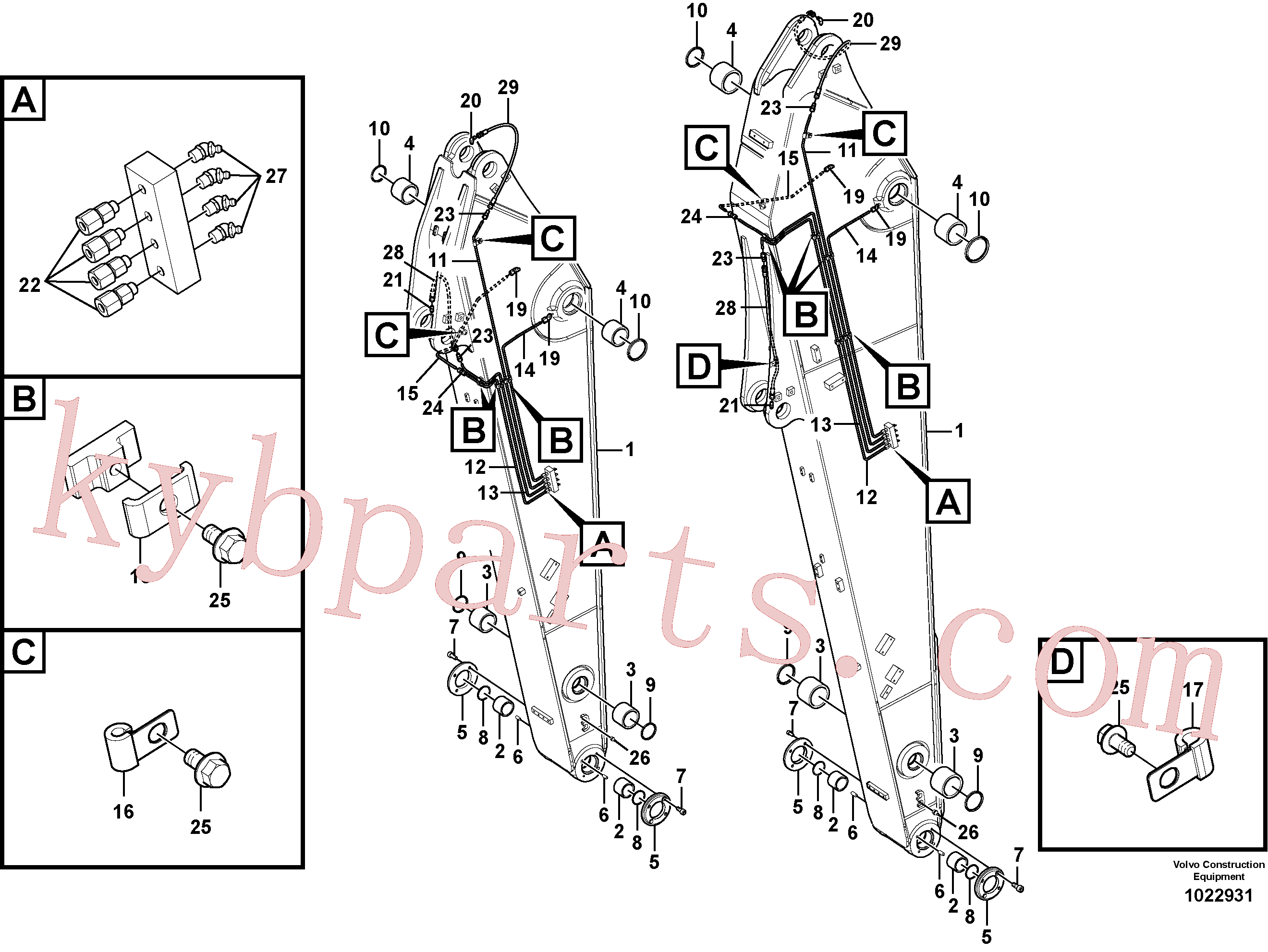 VOE14543240 for Volvo Dipper arm and grease piping with piping seat(1022931 assembly)