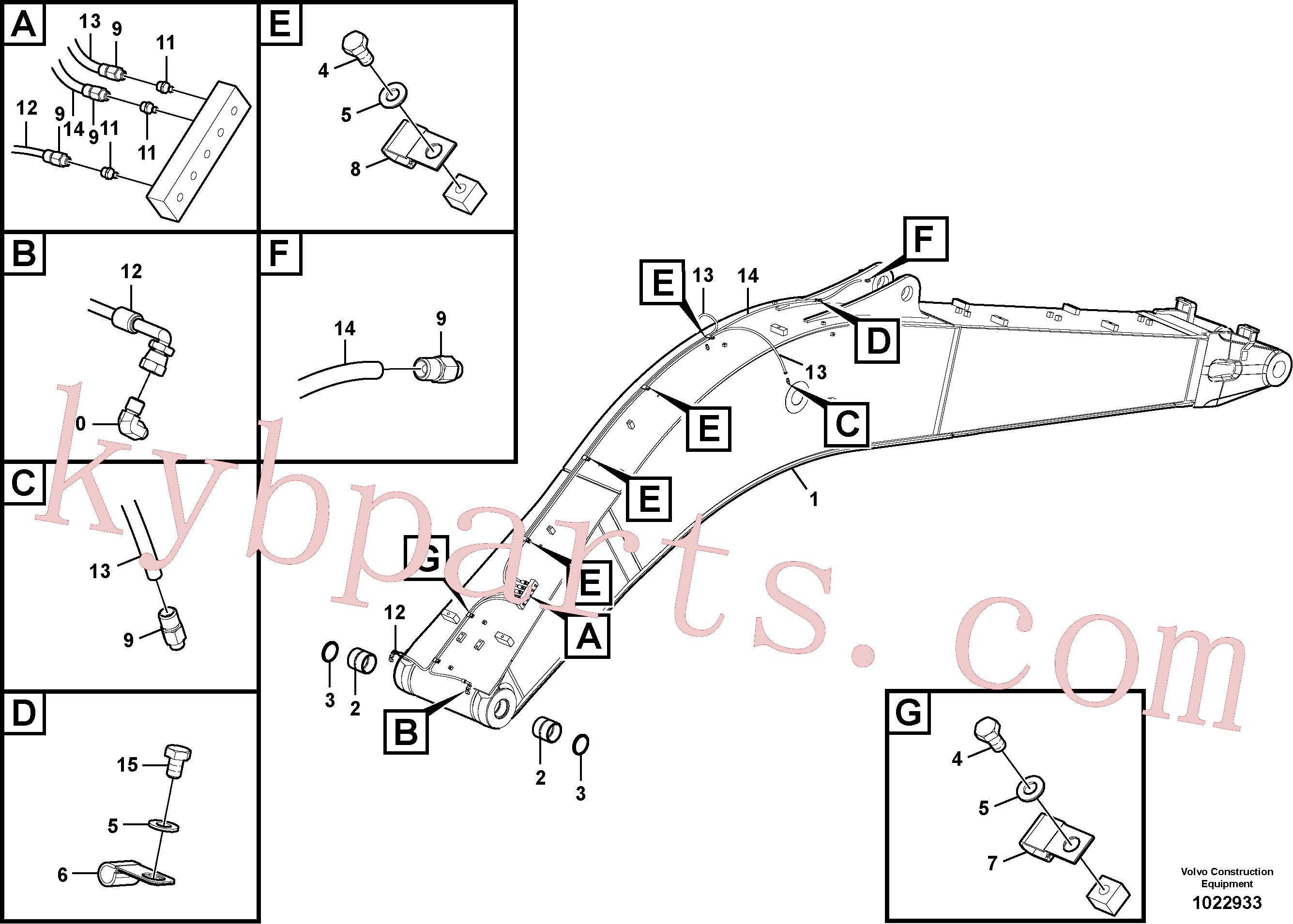 VOE14512446 for Volvo Boom and grease piping(1022933 assembly)
