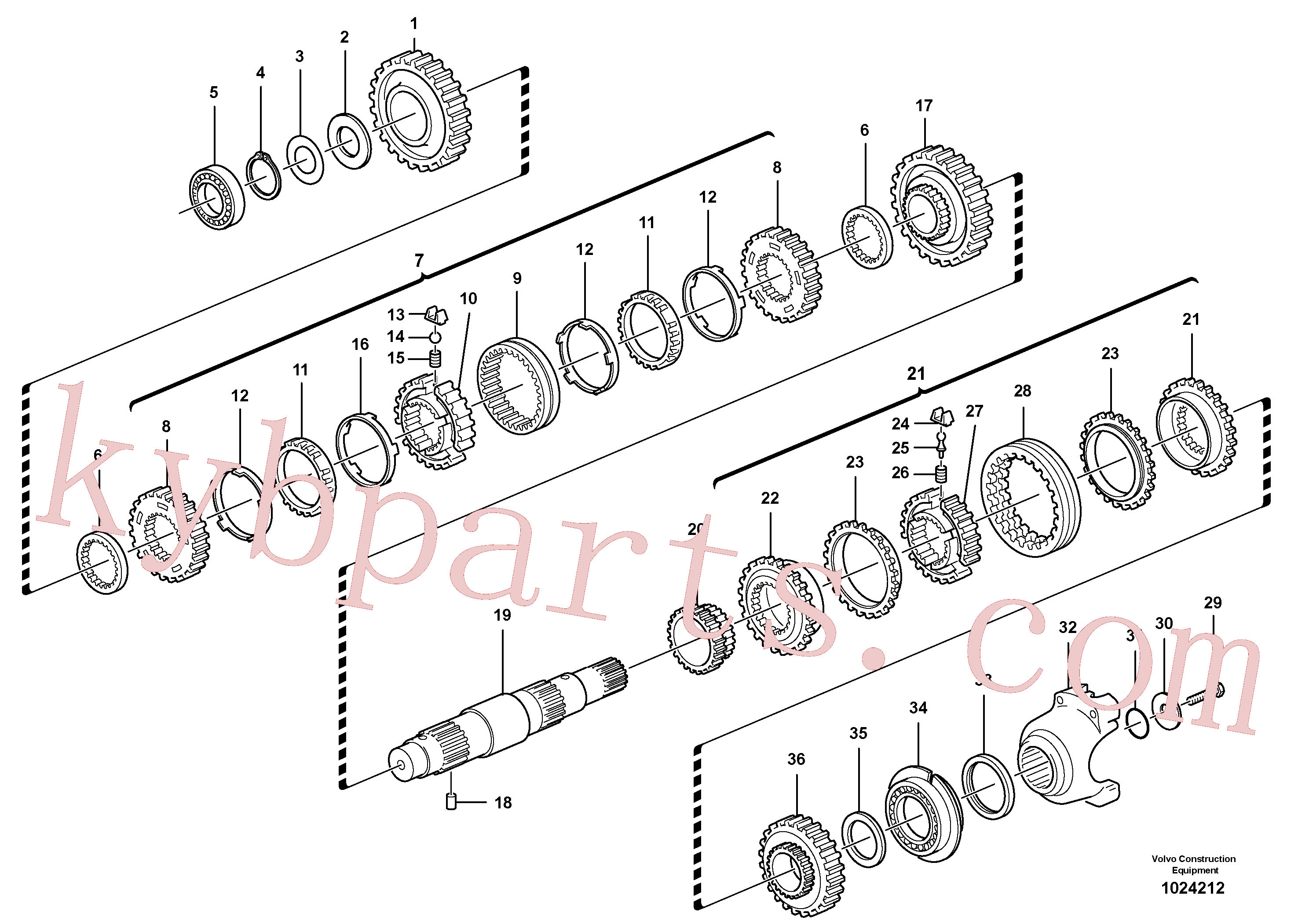 VOE11709112 for Volvo Secondary shaft(1024212 assembly)