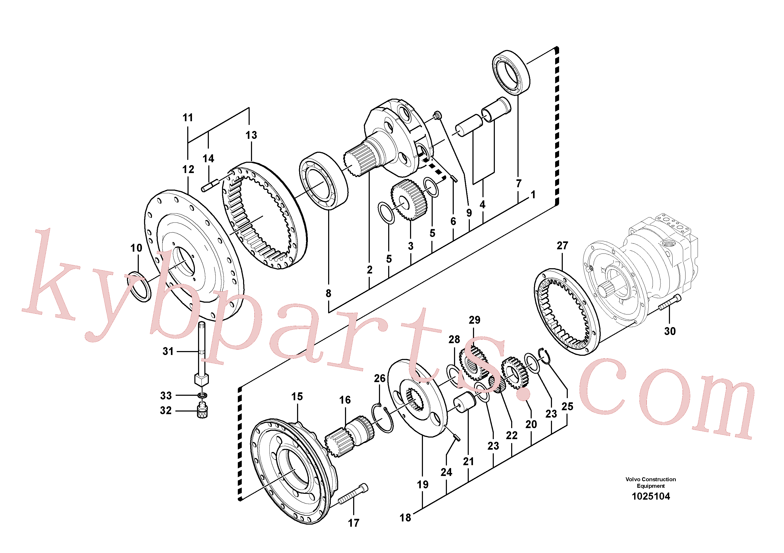 SA7118-38400 for Volvo Swing gearbox(1025104 assembly)
