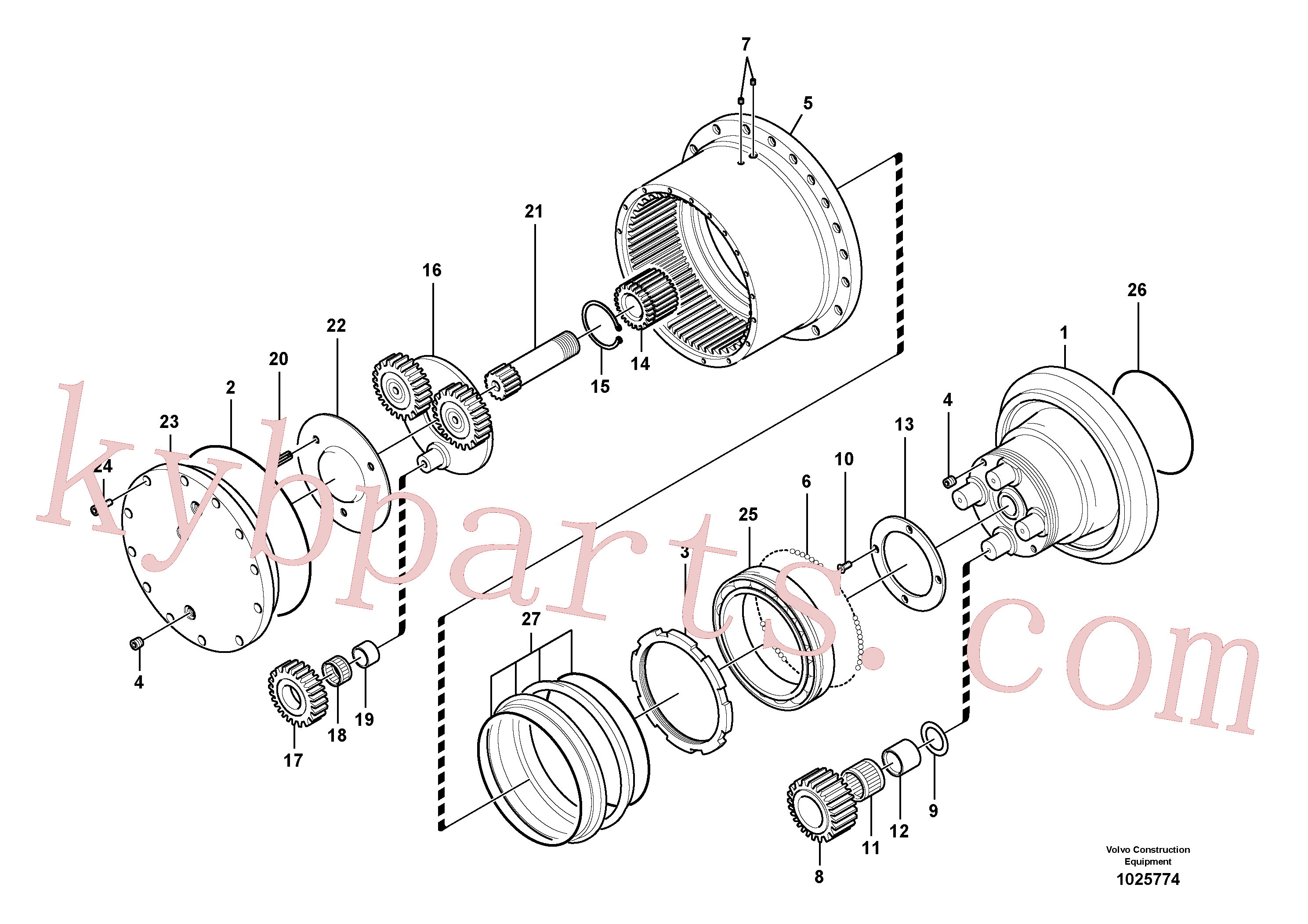 VOE13967630 for Volvo Travel gearbox(1025774 assembly)
