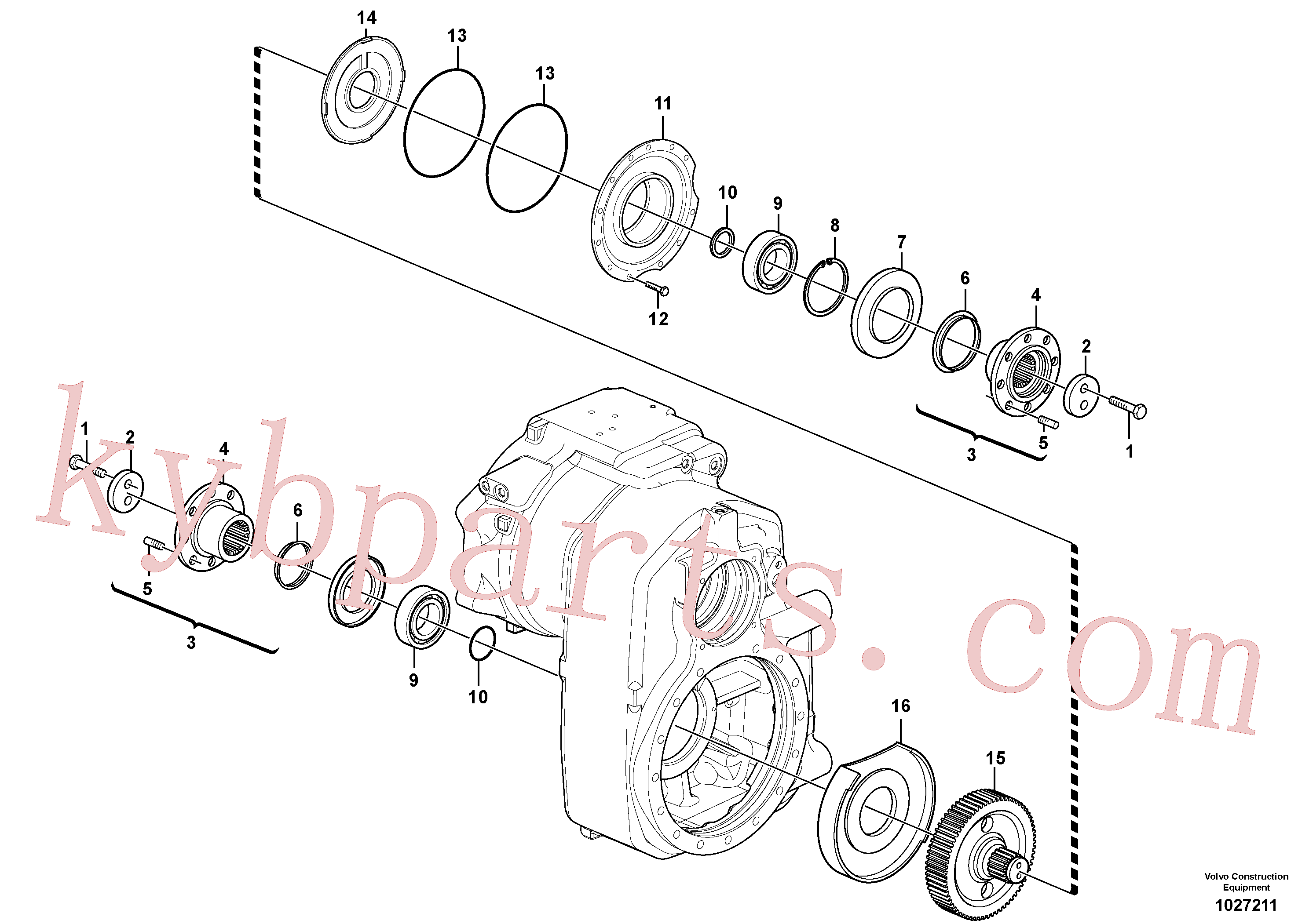 VOE955320 for Volvo Transfer case, gears and shafts(1027211 assembly)