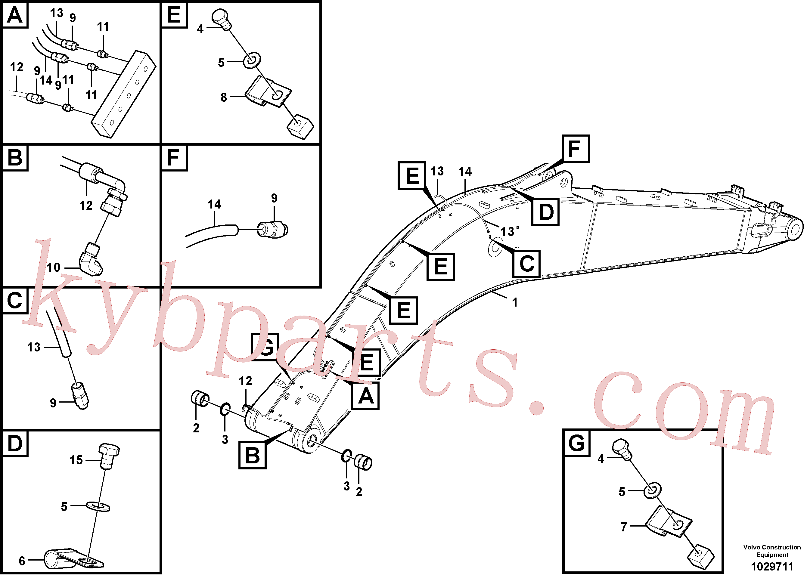 VOE14512446 for Volvo Boom and grease piping(1029711 assembly)