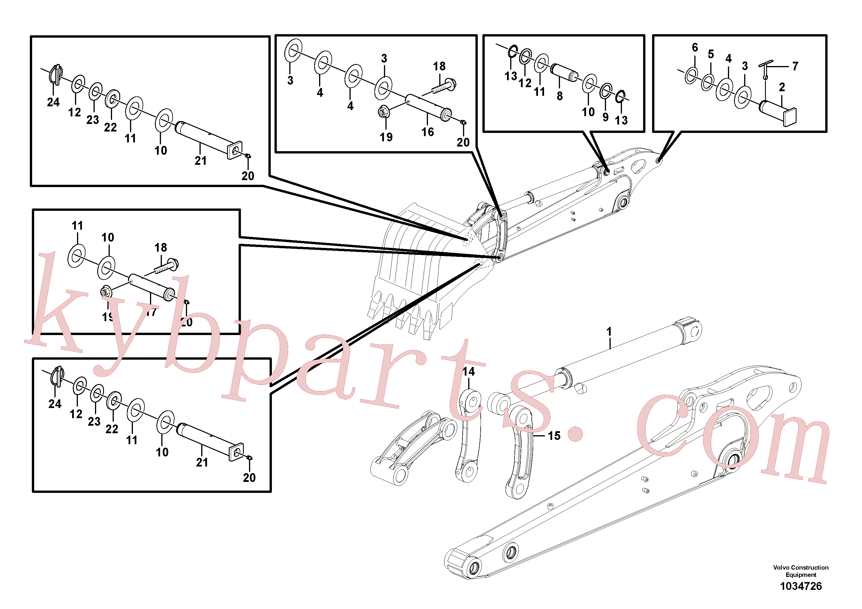 PJ3780188 for Volvo Dipper arm(1034726 assembly)