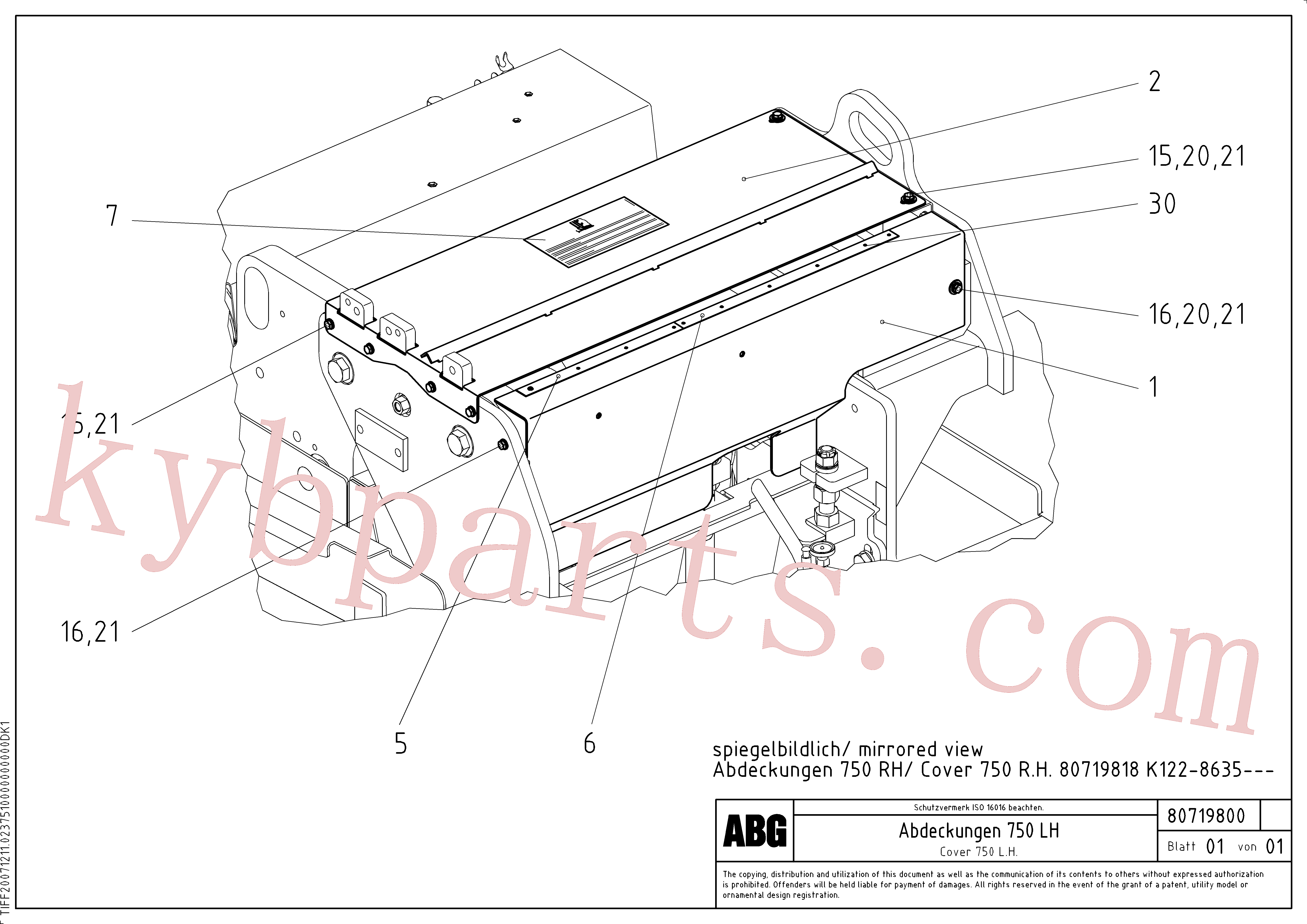 RM80717499 for Volvo Protective cover for extension(1047381 assembly)
