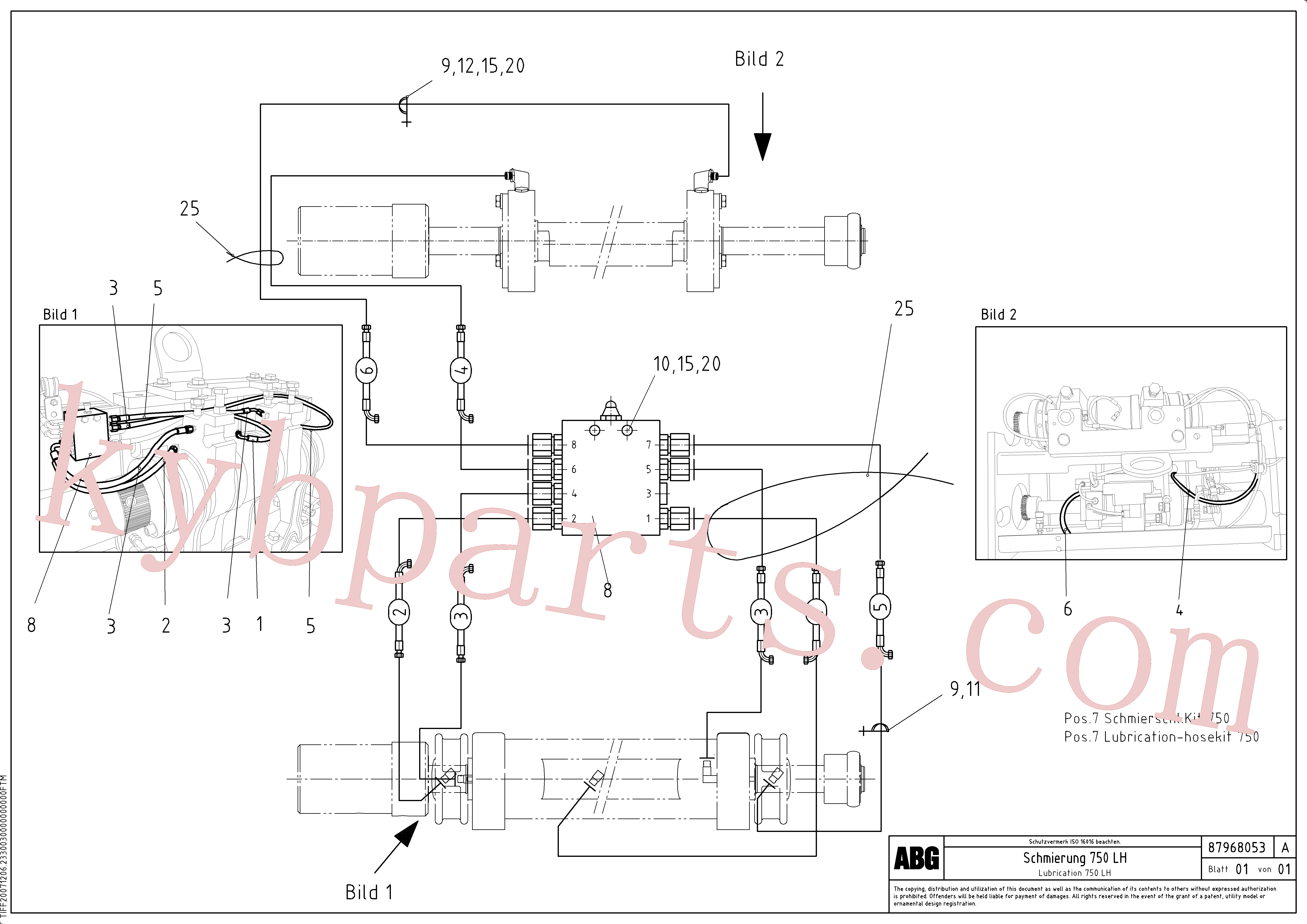 RM96714233 for Volvo Lubrication hose kit for extension, Lubrication for extension(1048080 assembly)