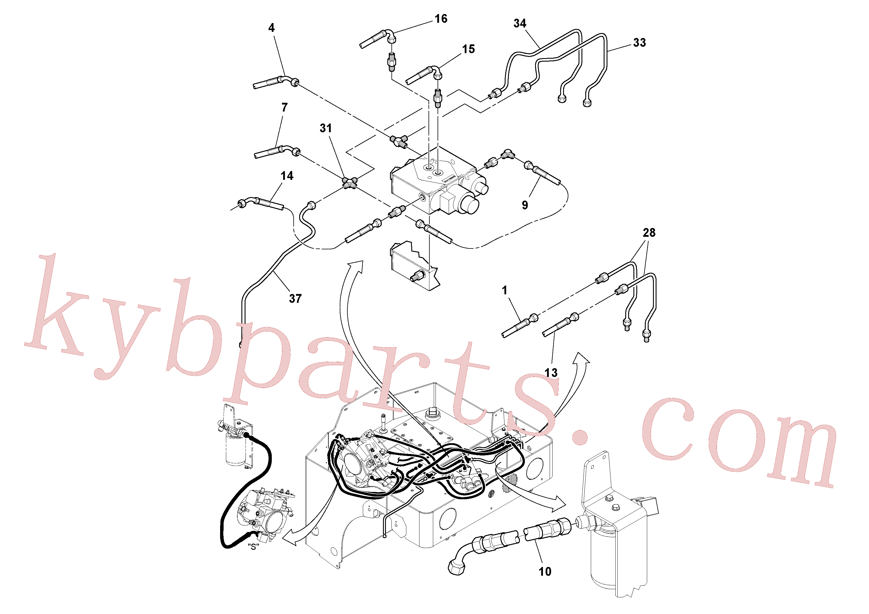 RM59280933 for Volvo Hydraulic Hoses/Tube Clamp Installation(1049174 assembly)