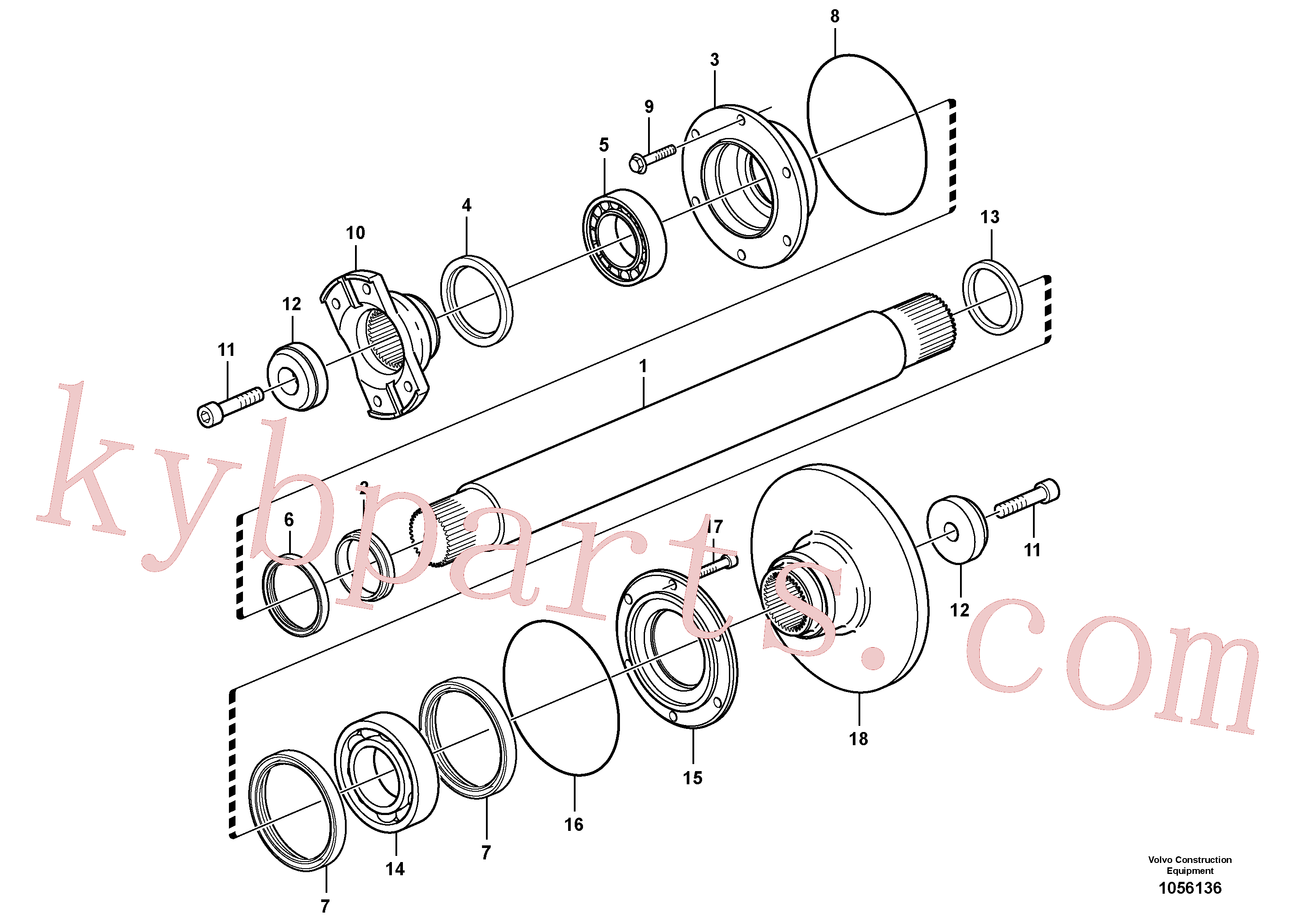 VOE11190761 for Volvo Intermediate shaft(1056136 assembly)