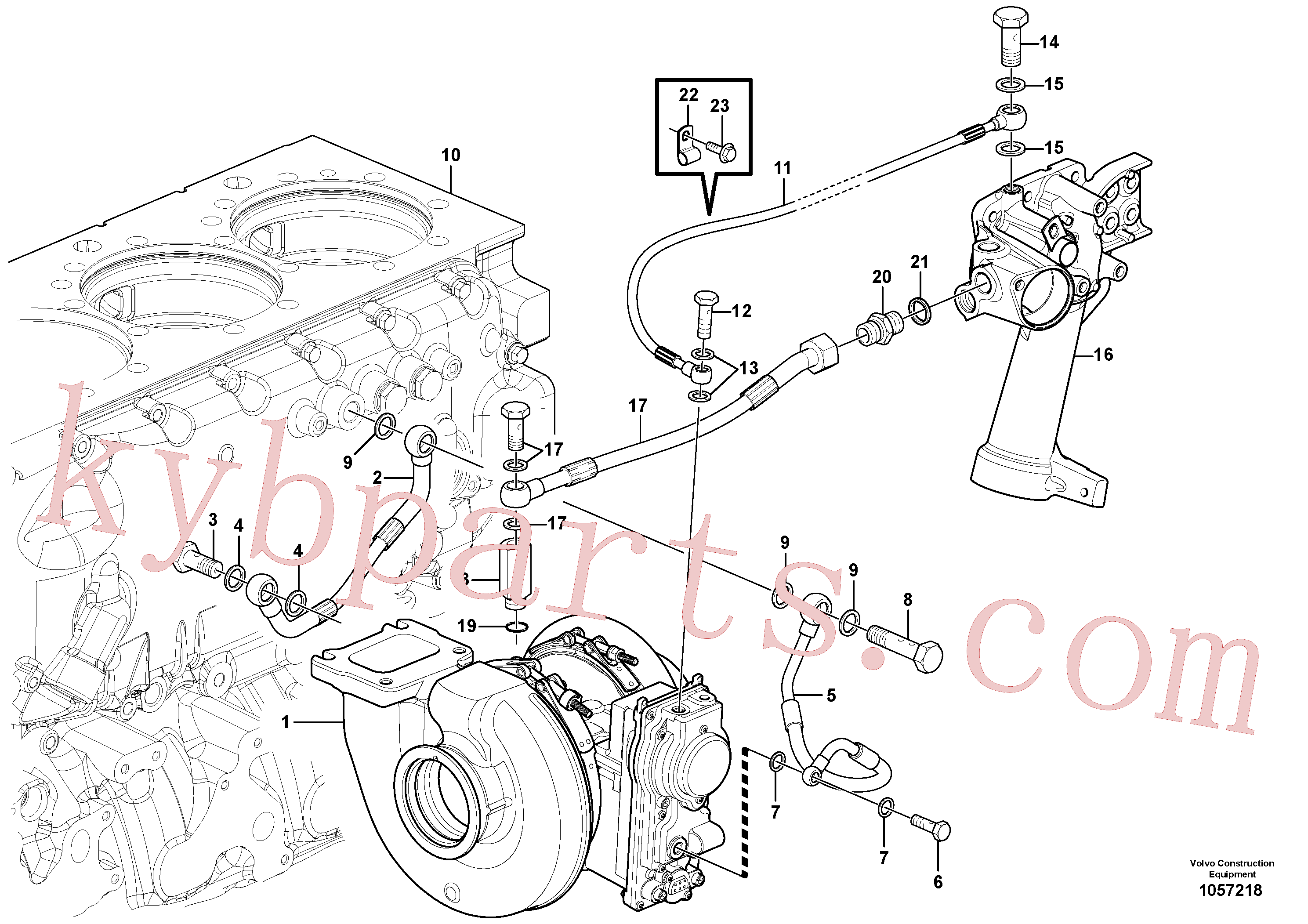 VOE7018387 for Volvo Turbocharger with coolant pipe(1057218 assembly)