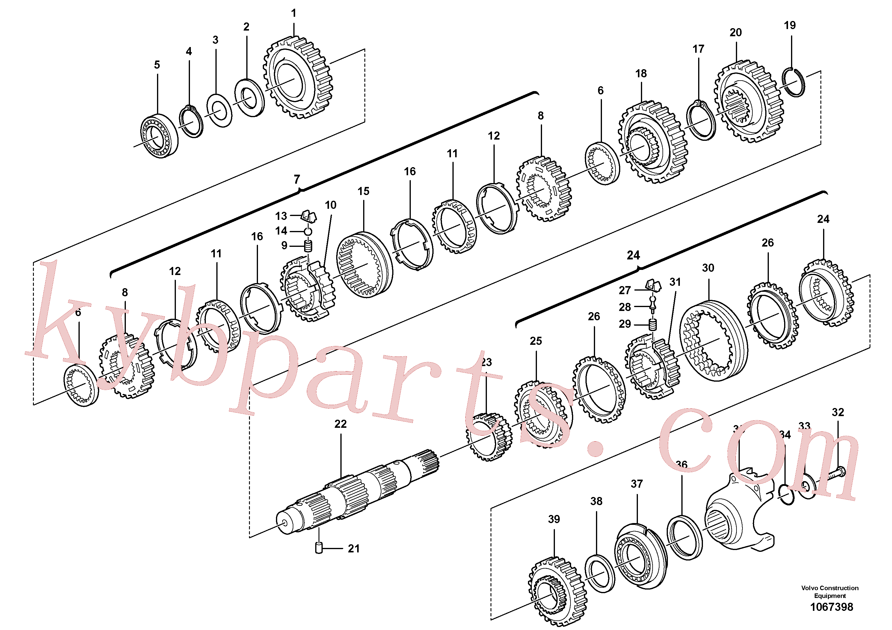 VOE11709112 for Volvo Secondary shaft(1067398 assembly)