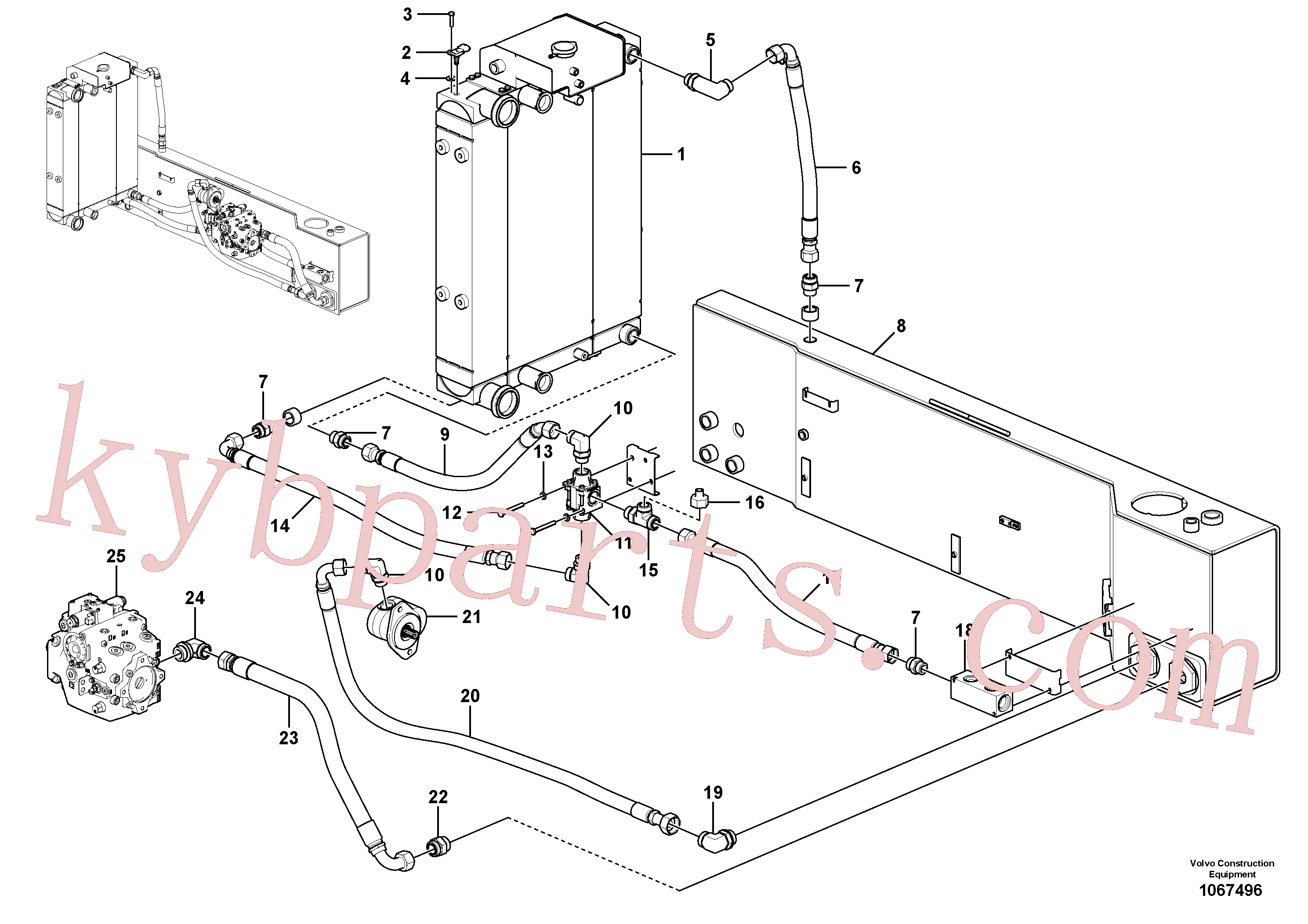 VOE937966 for Volvo Oil cooler with hoses(1067496 assembly)