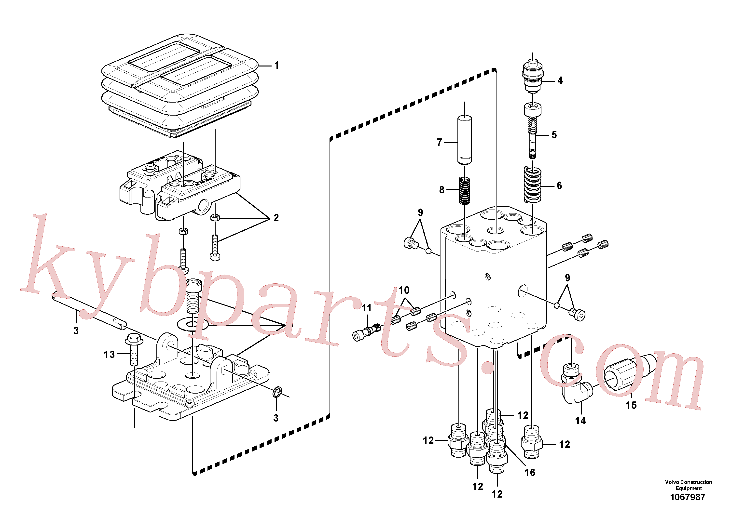 VOE15615841 for Volvo Remote control valve pedal, travel motor(1067987 assembly)