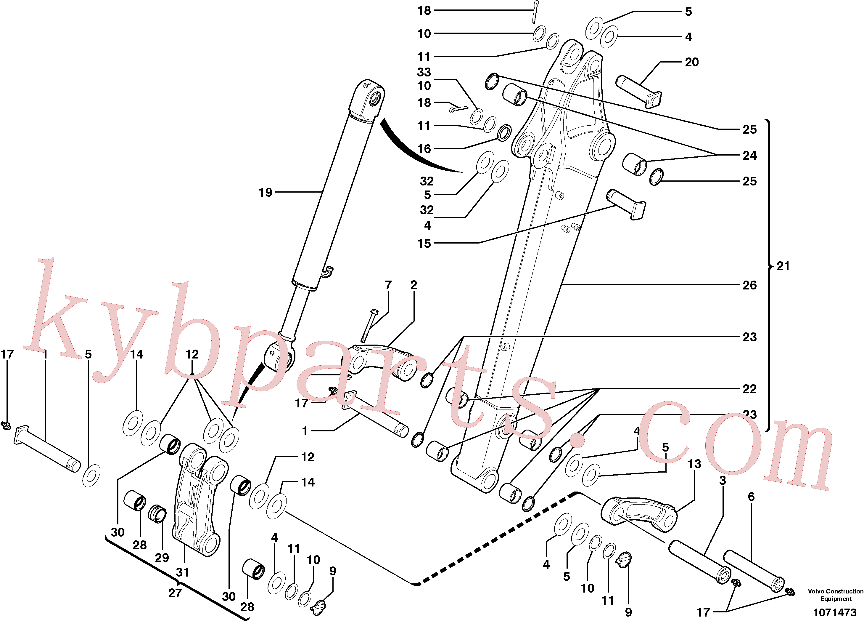 PJ3780188 for Volvo Dipper arm(1071473 assembly)