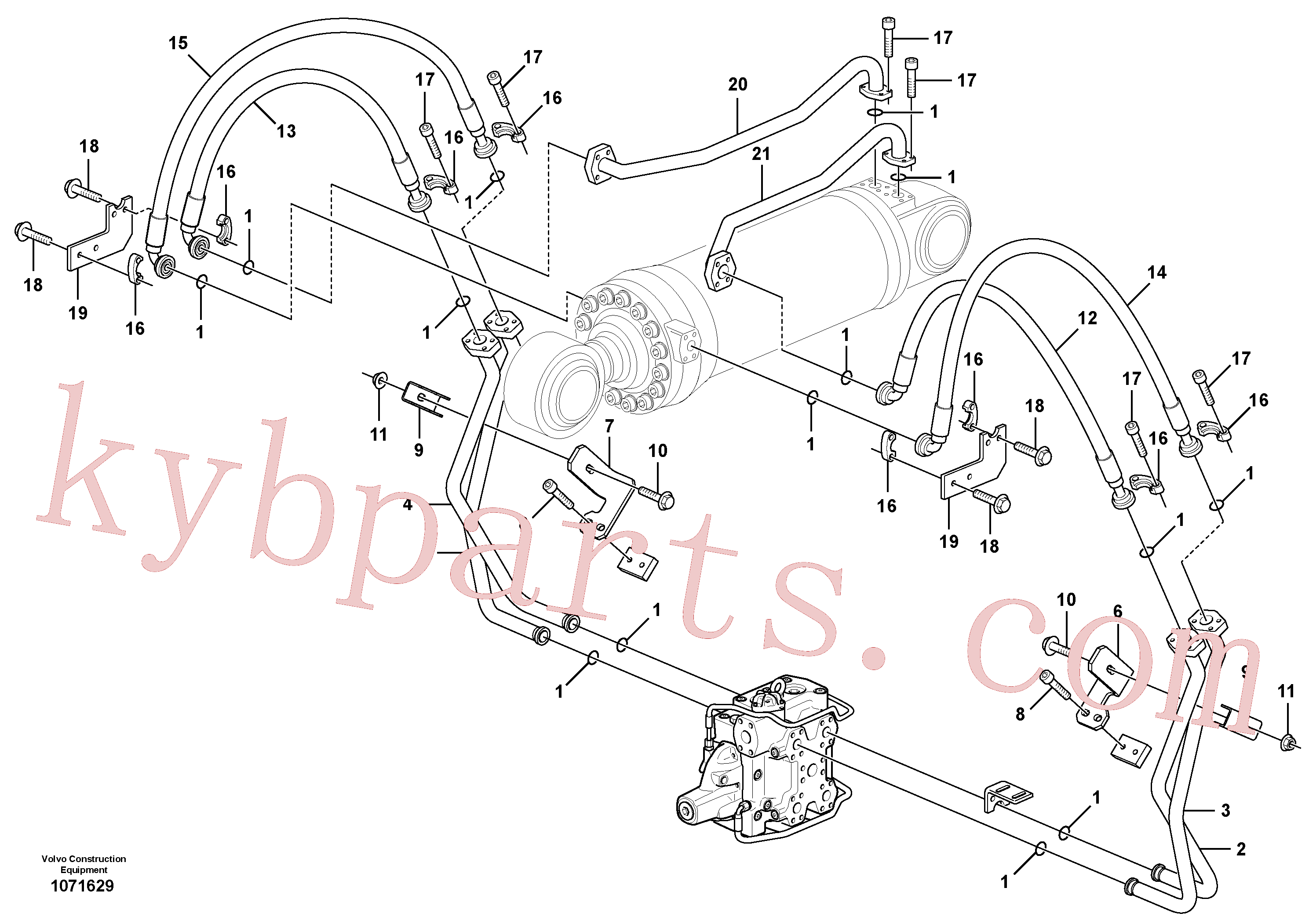 VOE15097377 for Volvo Hydraulic system, tilt function(1071629 assembly)