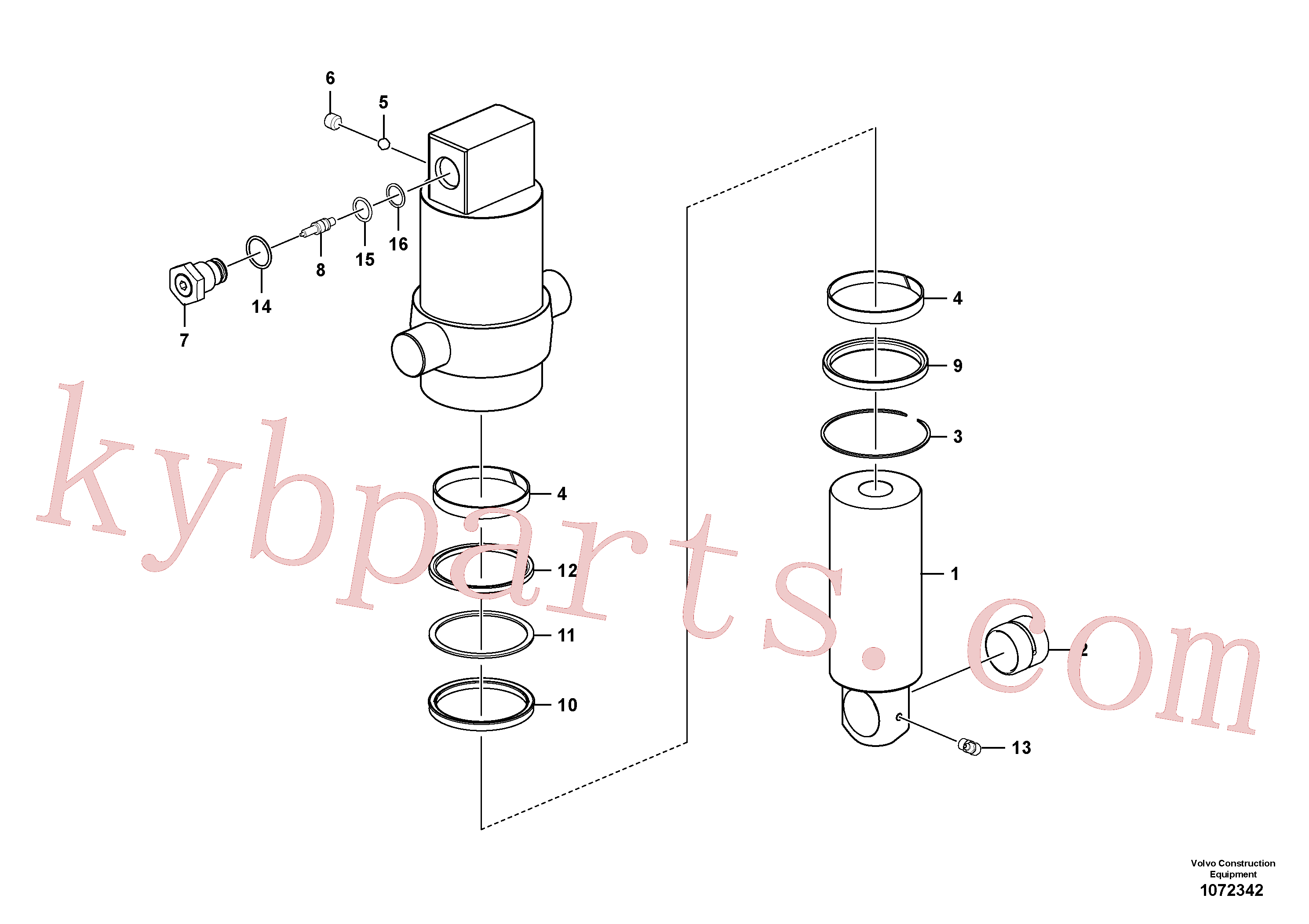 SA9567-21100 for Volvo Axle locking cylinder(1072342 assembly)