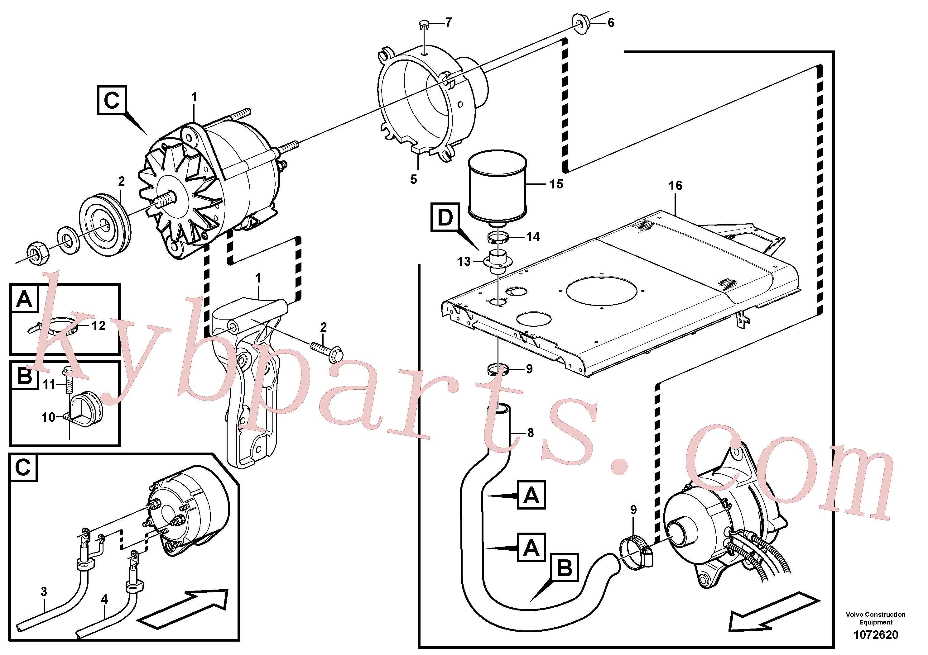VOE949902 for Volvo Alternator with assembling details(1072620 assembly)