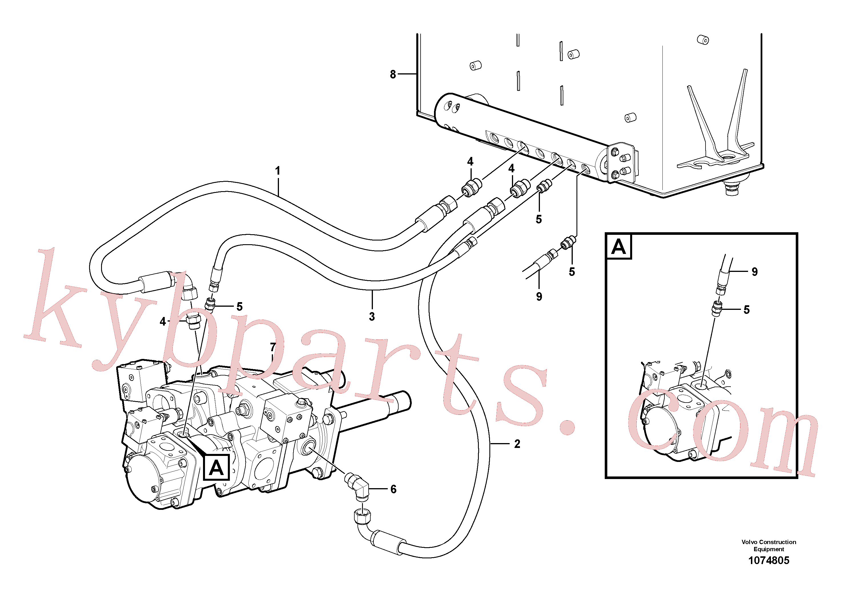 VOE15175299 for Volvo Oil-bleed line, pump(1074805 assembly)