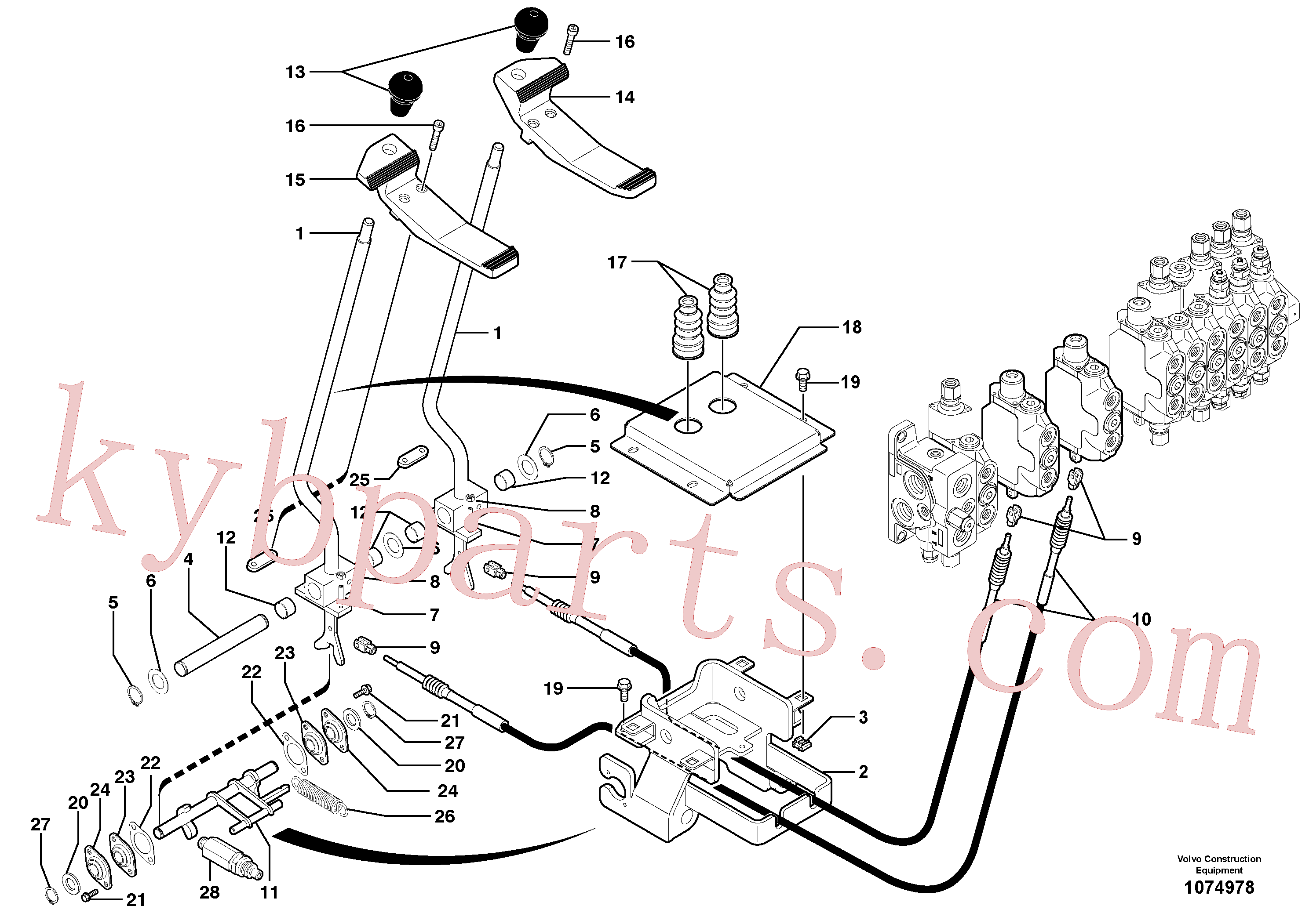 PJ5040027 for Volvo Control levers : travelling(1074978 assembly)