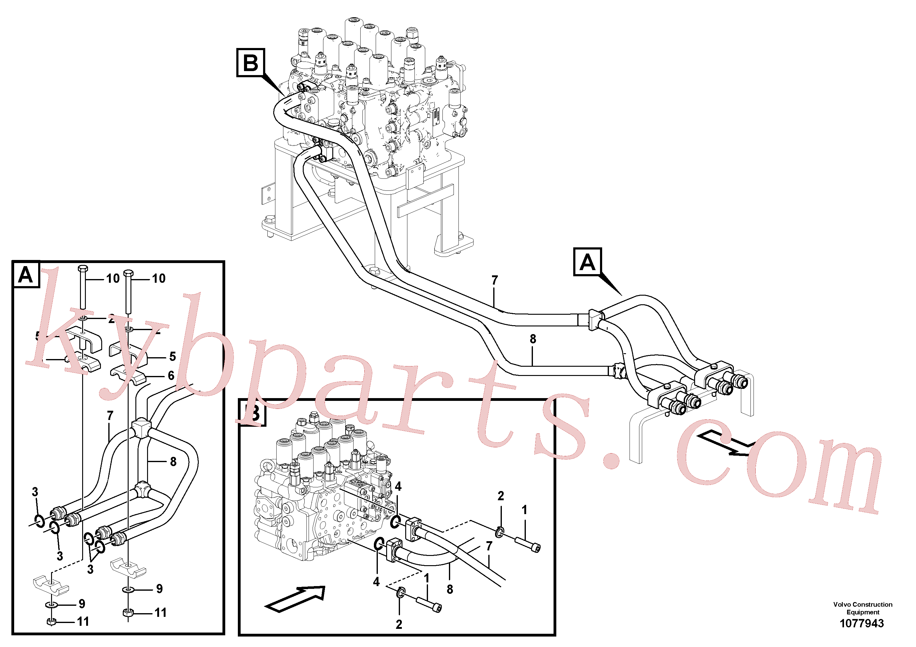 SA9285-16000 for Volvo Hydraulic system, control valve to boom and swing(1077943 assembly)