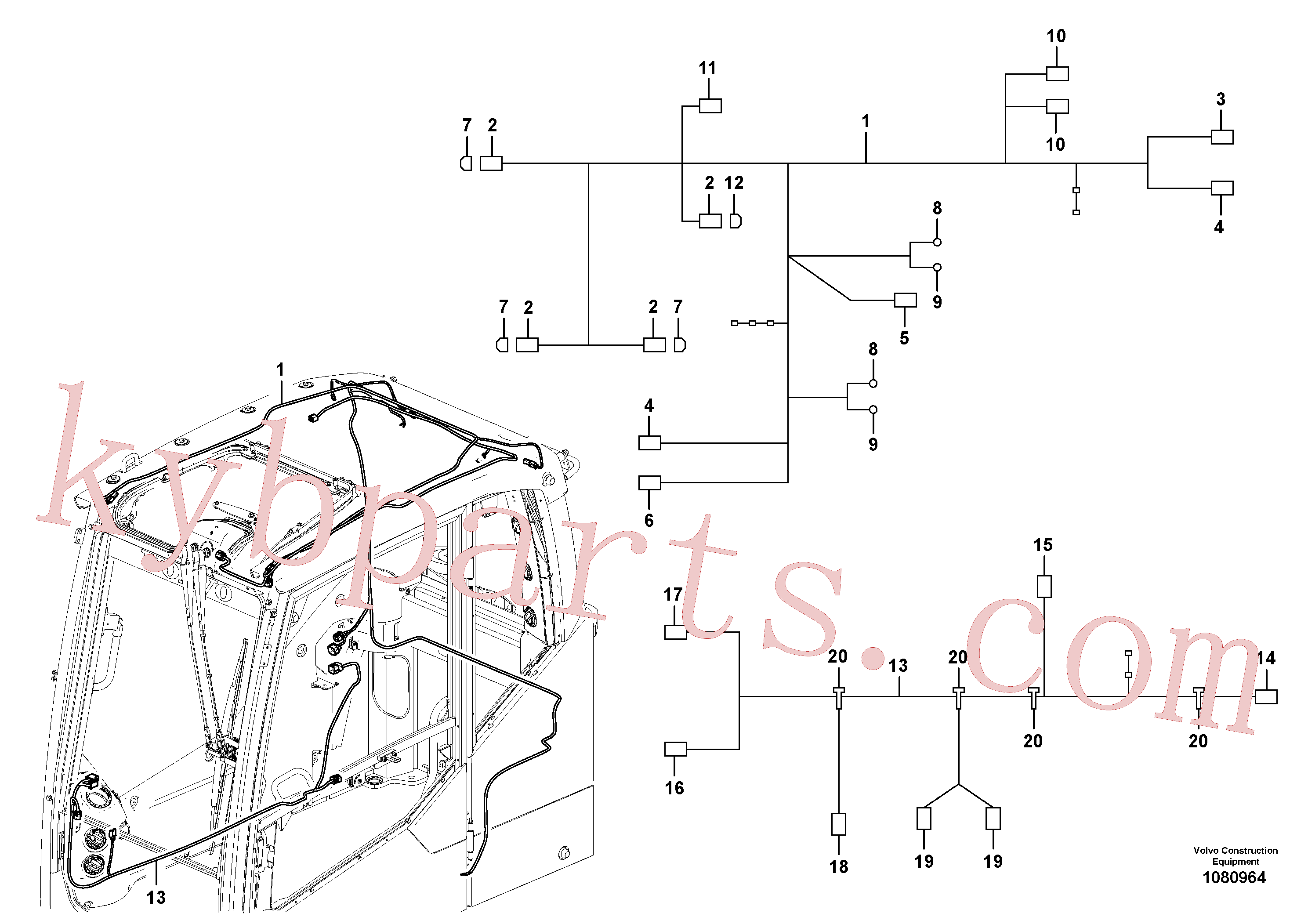 VOE14596476 for Volvo Cable harness, cab(1080964 assembly)
