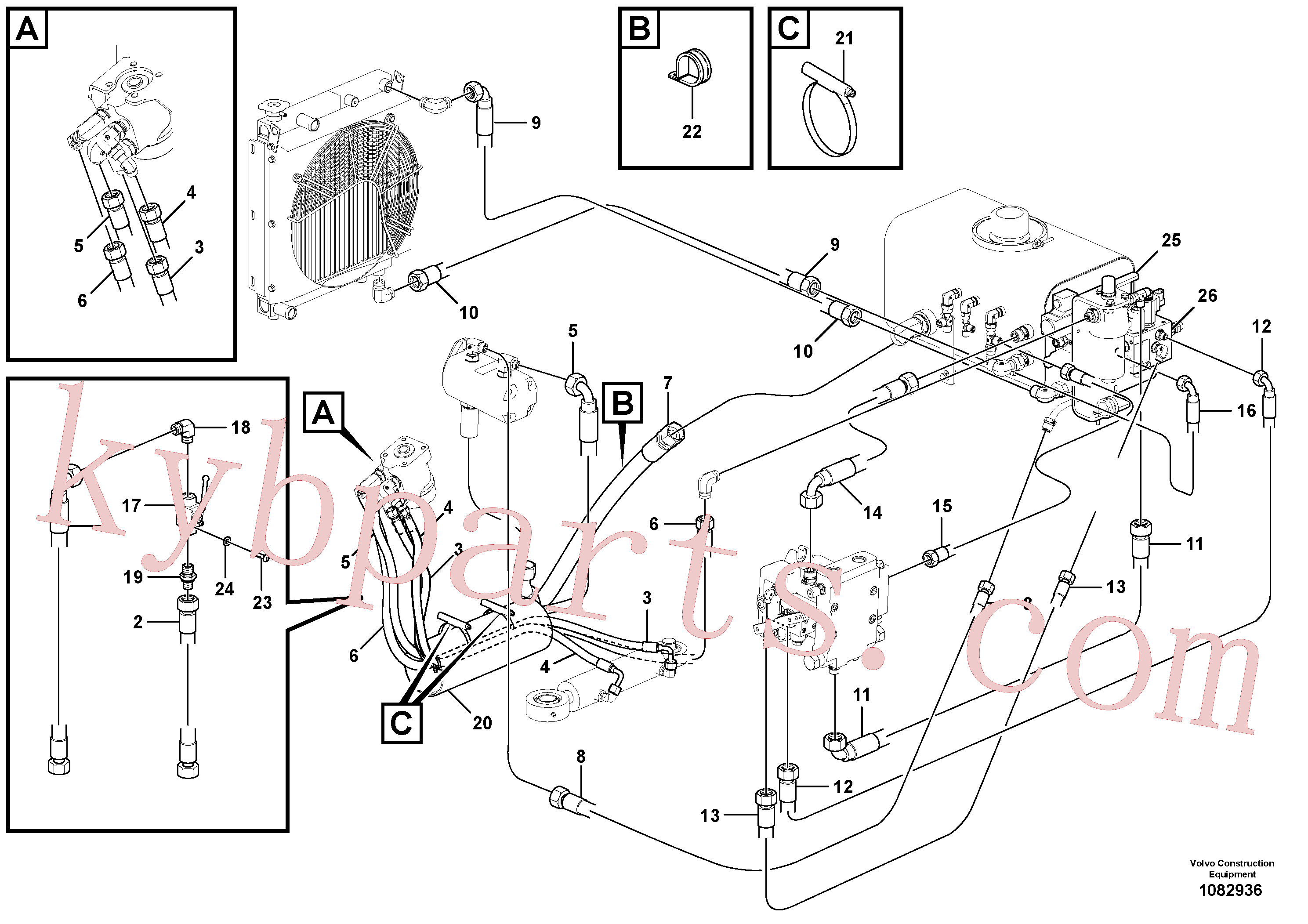 VOE936299 for Volvo Hydraulic Lines(1082936 assembly)