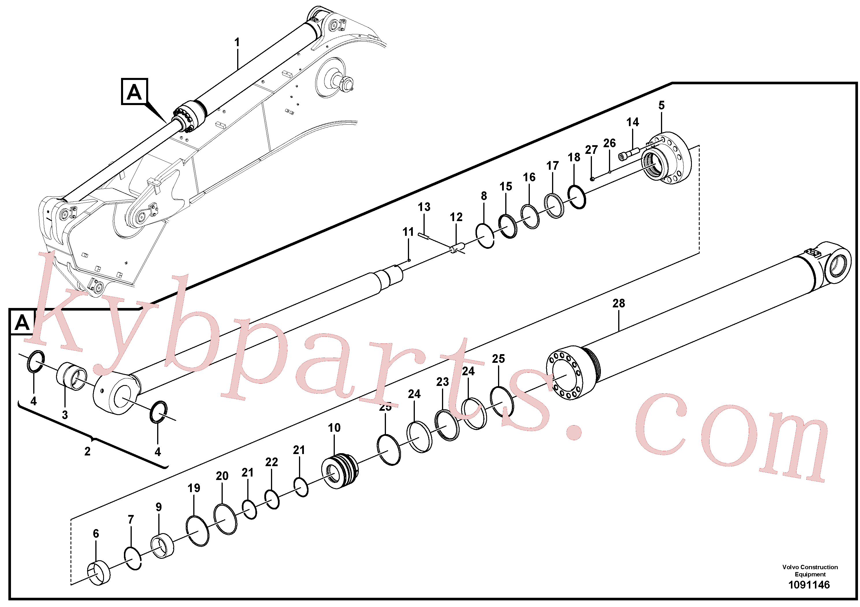 VOE14589000 for Volvo Dipper arm cylinder(1091146 assembly)