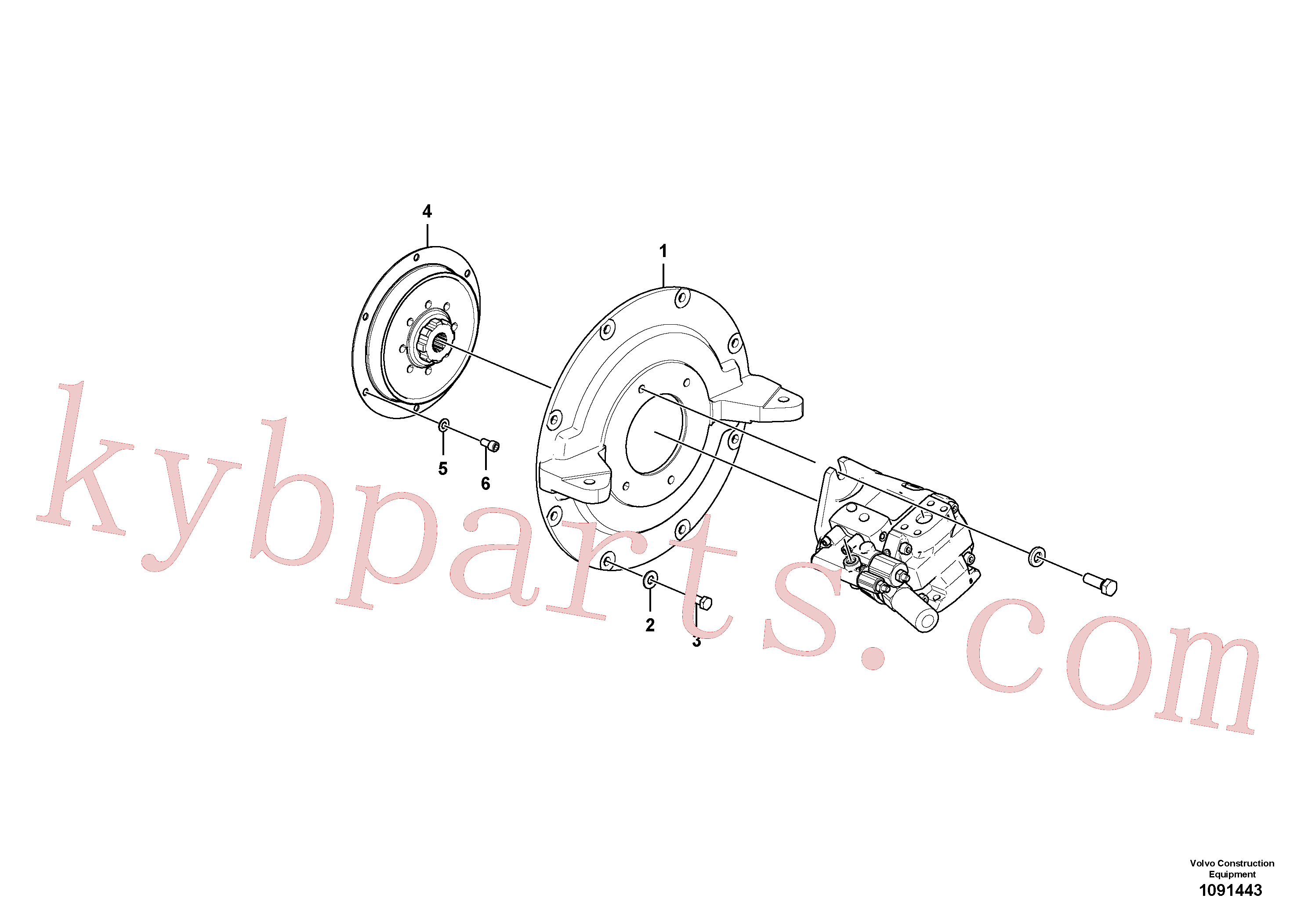 VOE15700973 for Volvo Hydraulic pump with fitting parts(1091443 assembly)