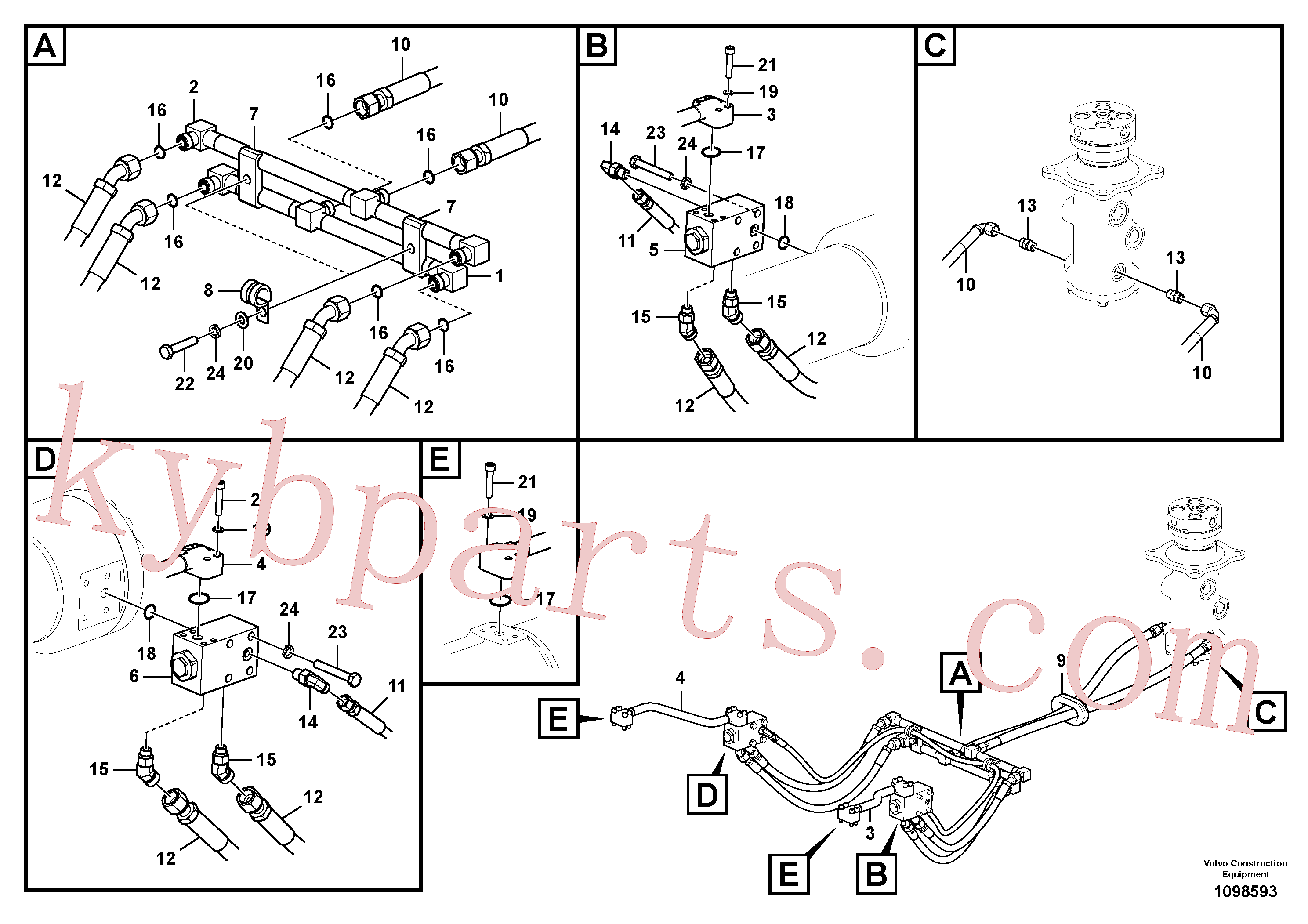 SA9403-04619 for Volvo Working hydraulic, dozer blade(1098593 assembly)