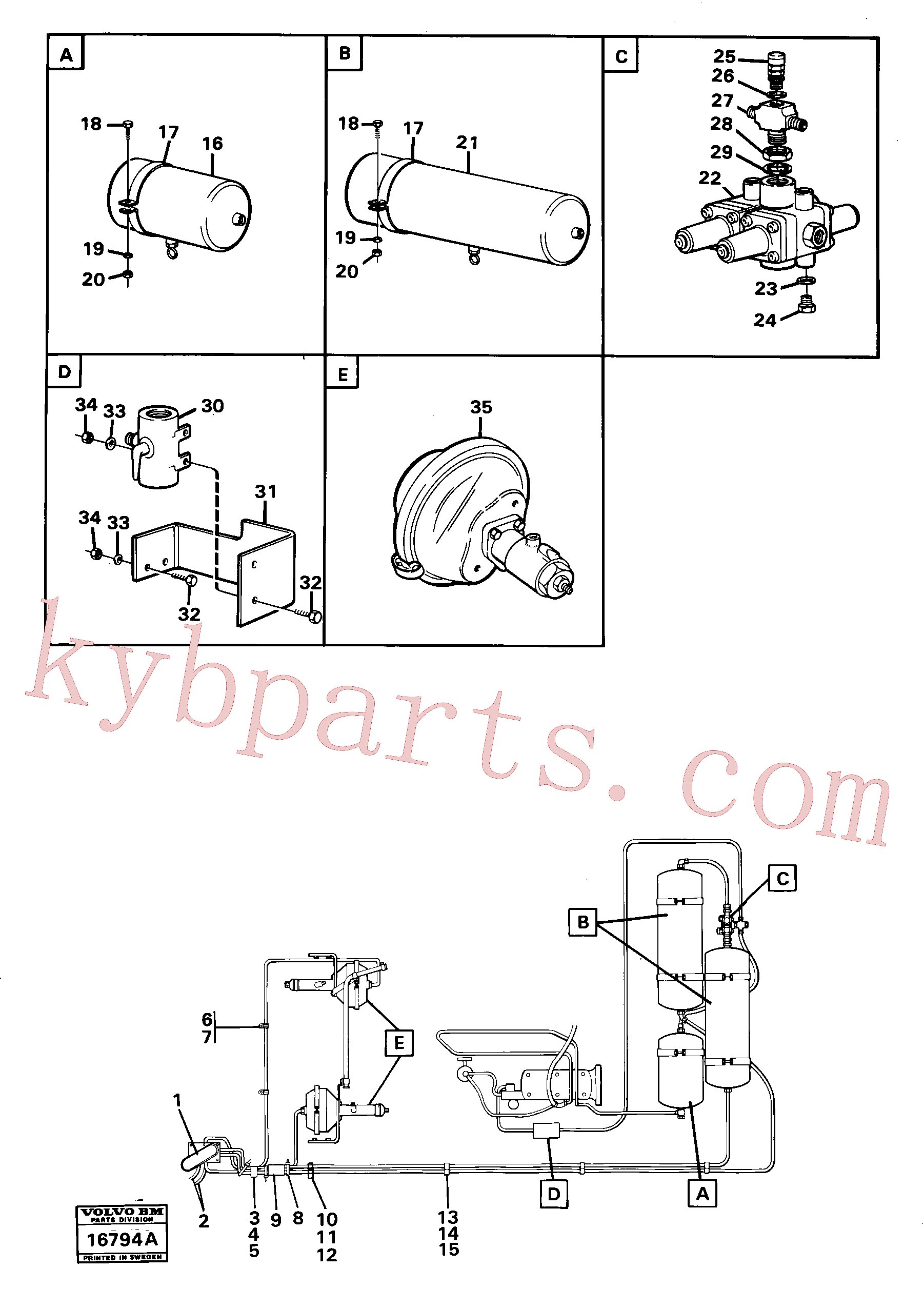 VOE955299 for Volvo Pneumatic system with componets(16794A assembly)
