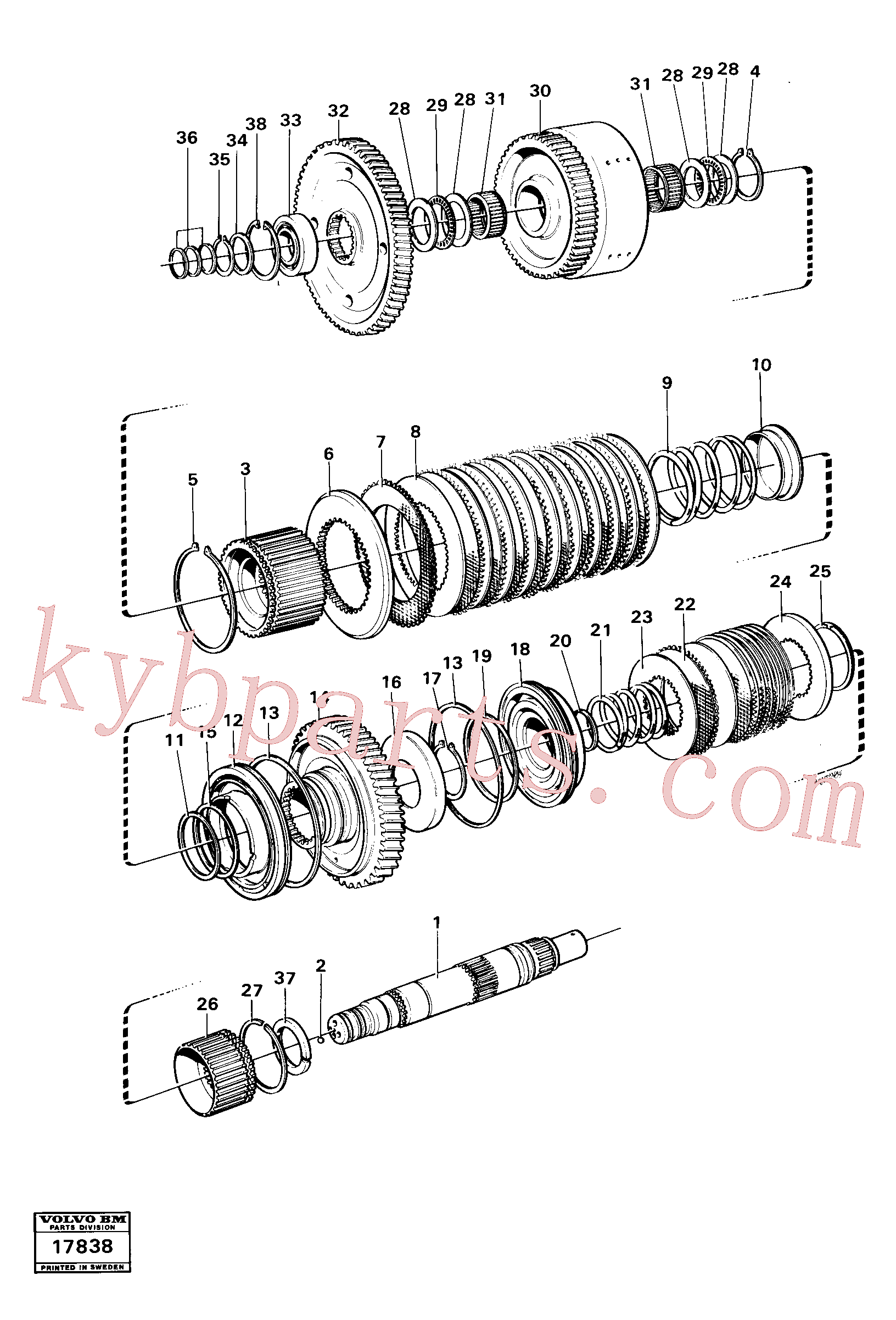 VOE4720857 for Volvo Clutches reverse/2nd speeds, Hydraulic clutch reverse / 2nd speeds.(17838 assembly)