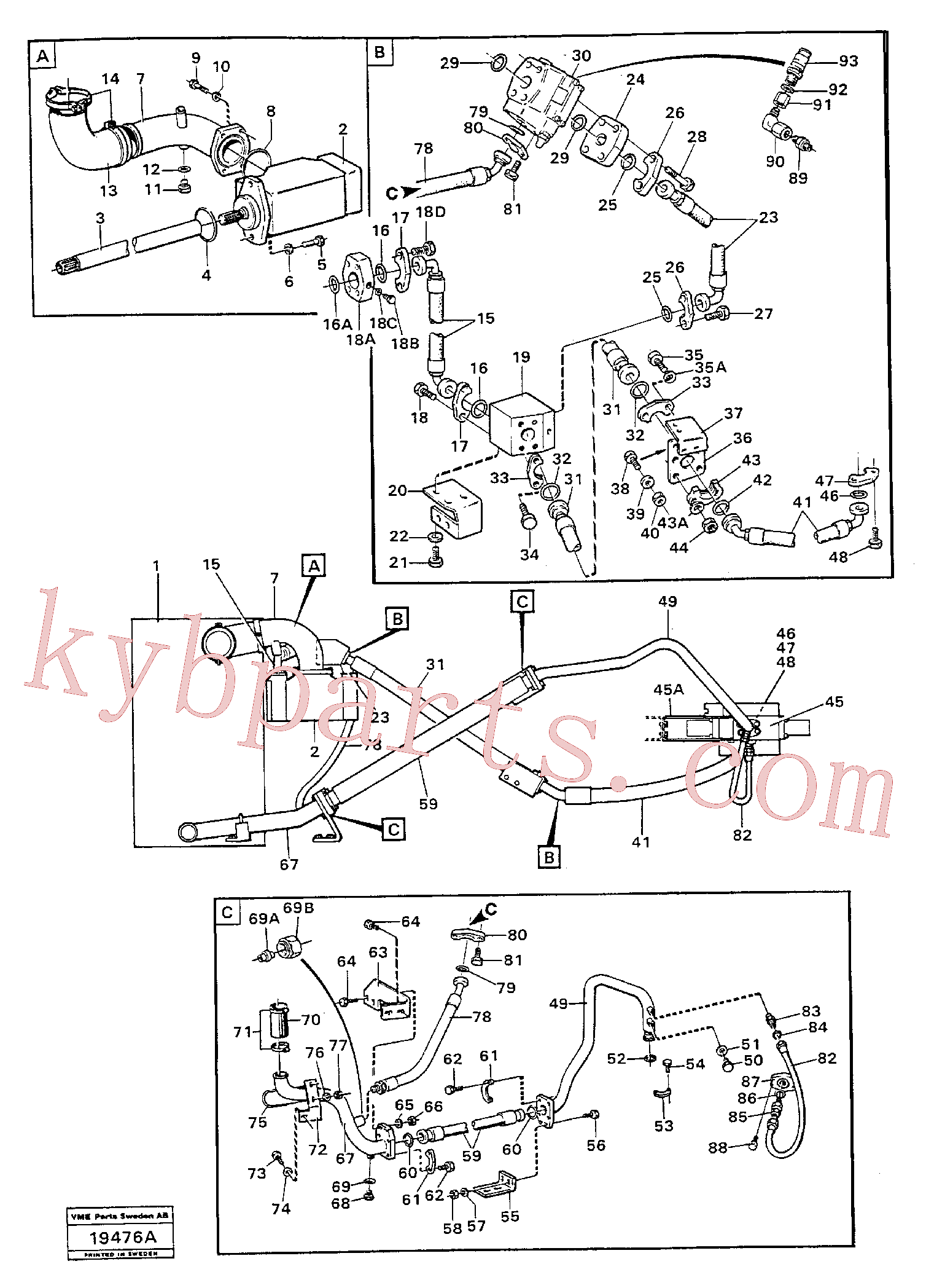 VOE941374 for Volvo Hydraulic system: feed lines.(19476A assembly)